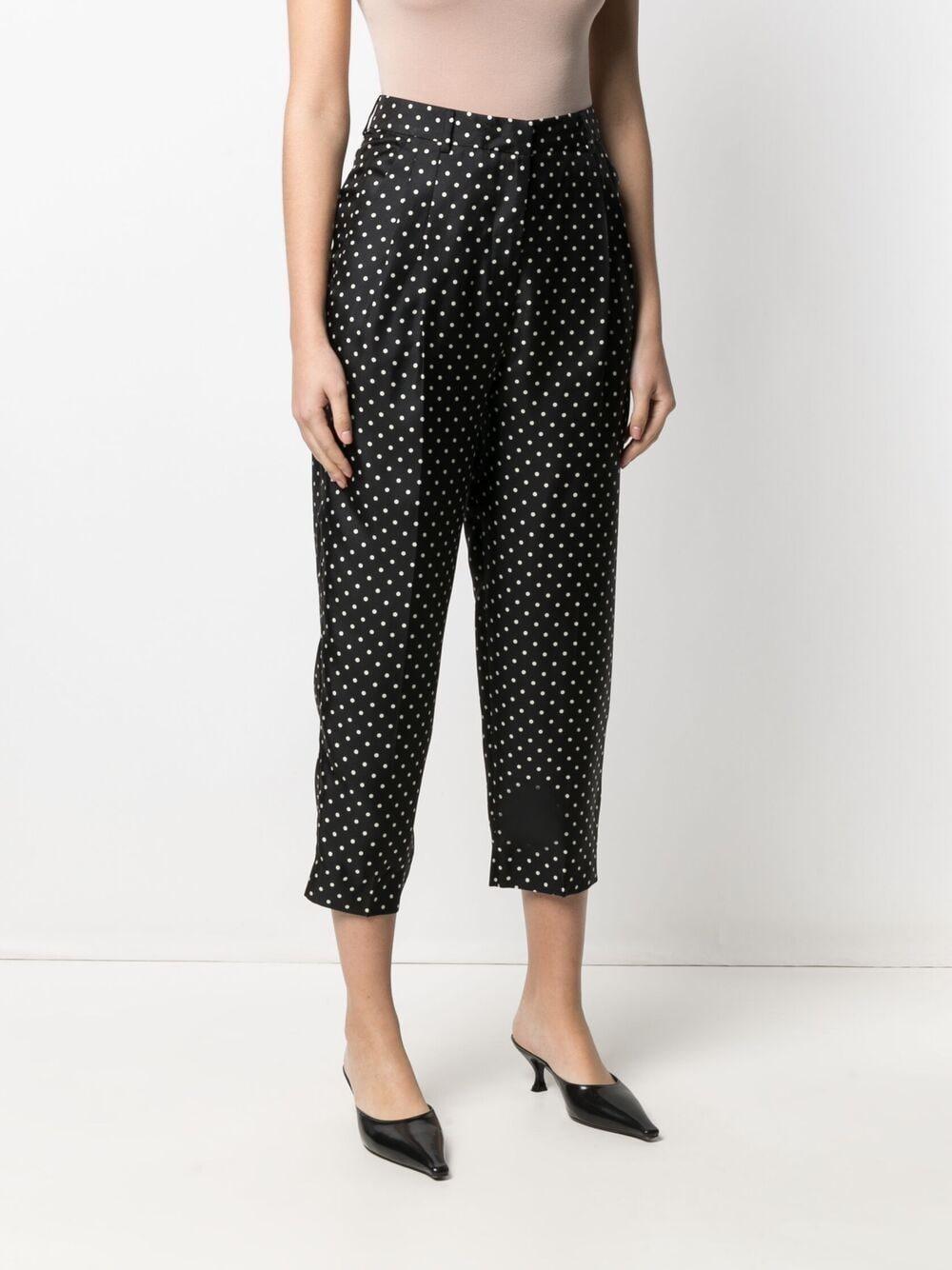 Pantaloni cropped in seta nera con stampa a pois ALBERTO BIANI   Pantaloni   CC802-SE313390