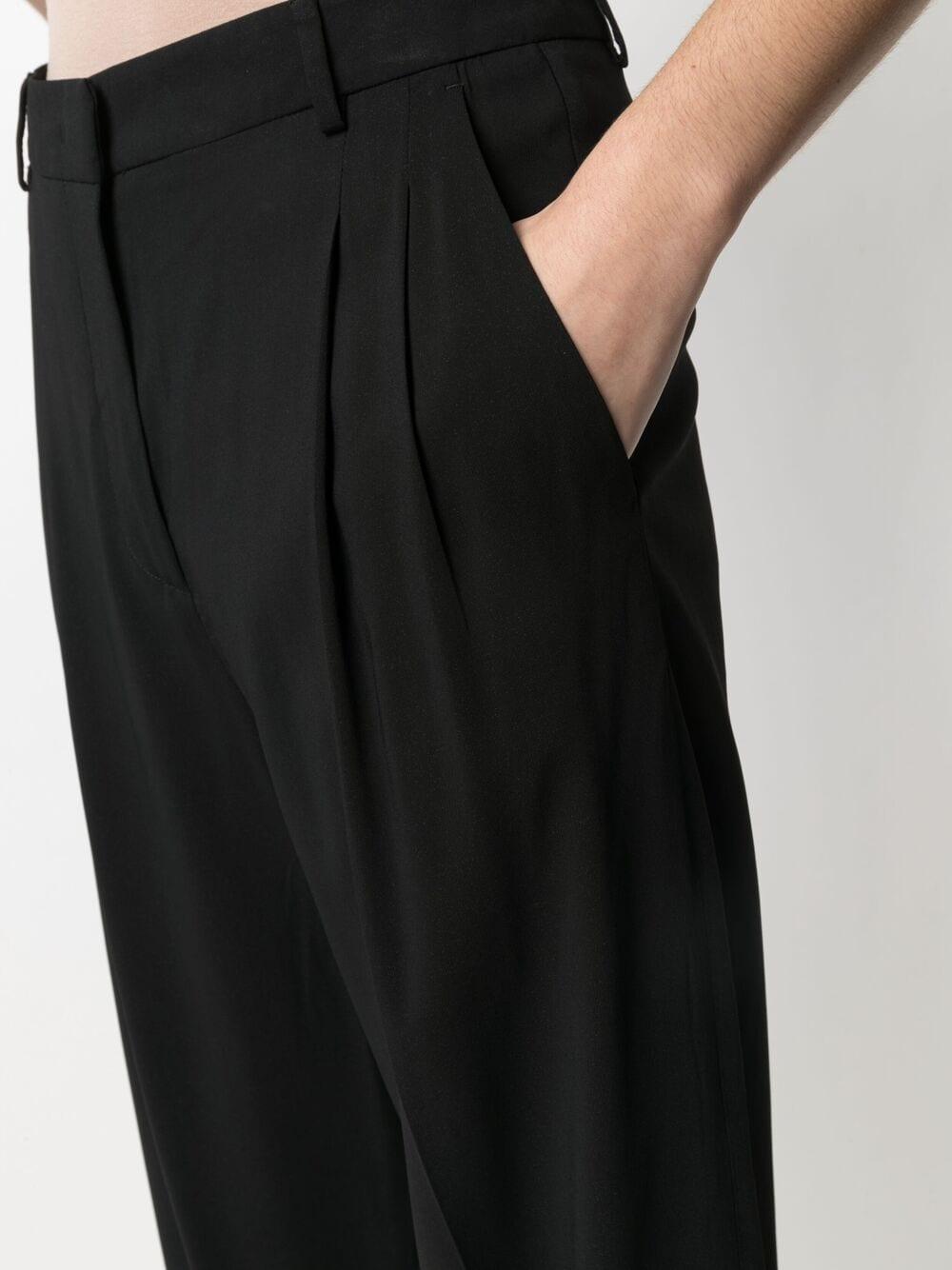 Black cropped straight-leg trousers featuring pleat detailing ALBERTO BIANI |  | CC802-VI008190