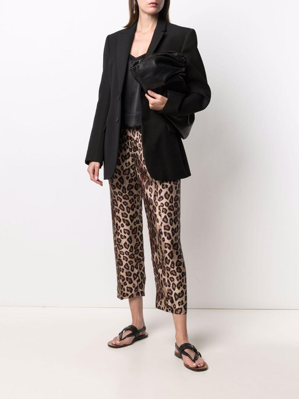 pantaloni cropped in seta stampa leopardata ALBERTO BIANI | Pantaloni | CC808-SE310666