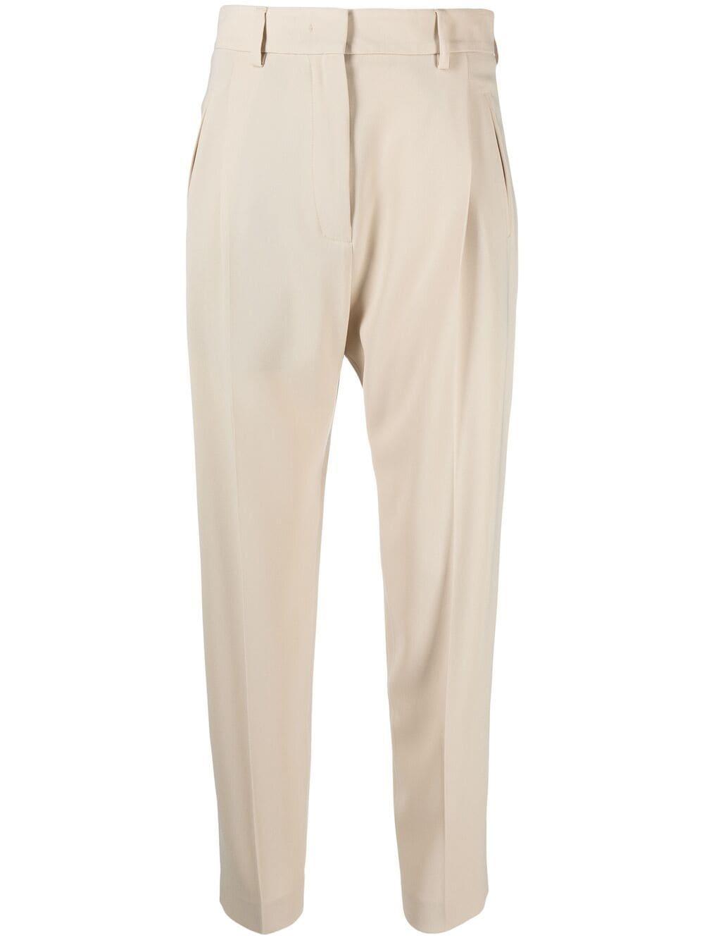 Pantaloni sartoriali bianco avorio a vita alta con piega stirata ALBERTO BIANI | Pantaloni | CC859-AC0028110