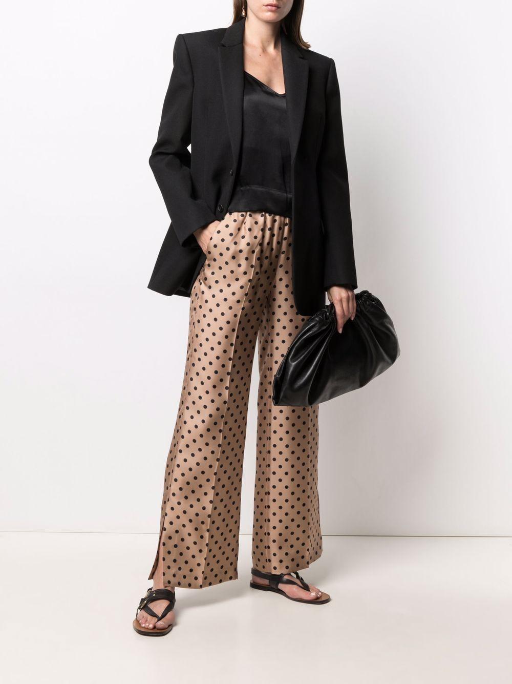 Brown and black silk polka dot press-crease trousers  ALBERTO BIANI      CC872-SE313468