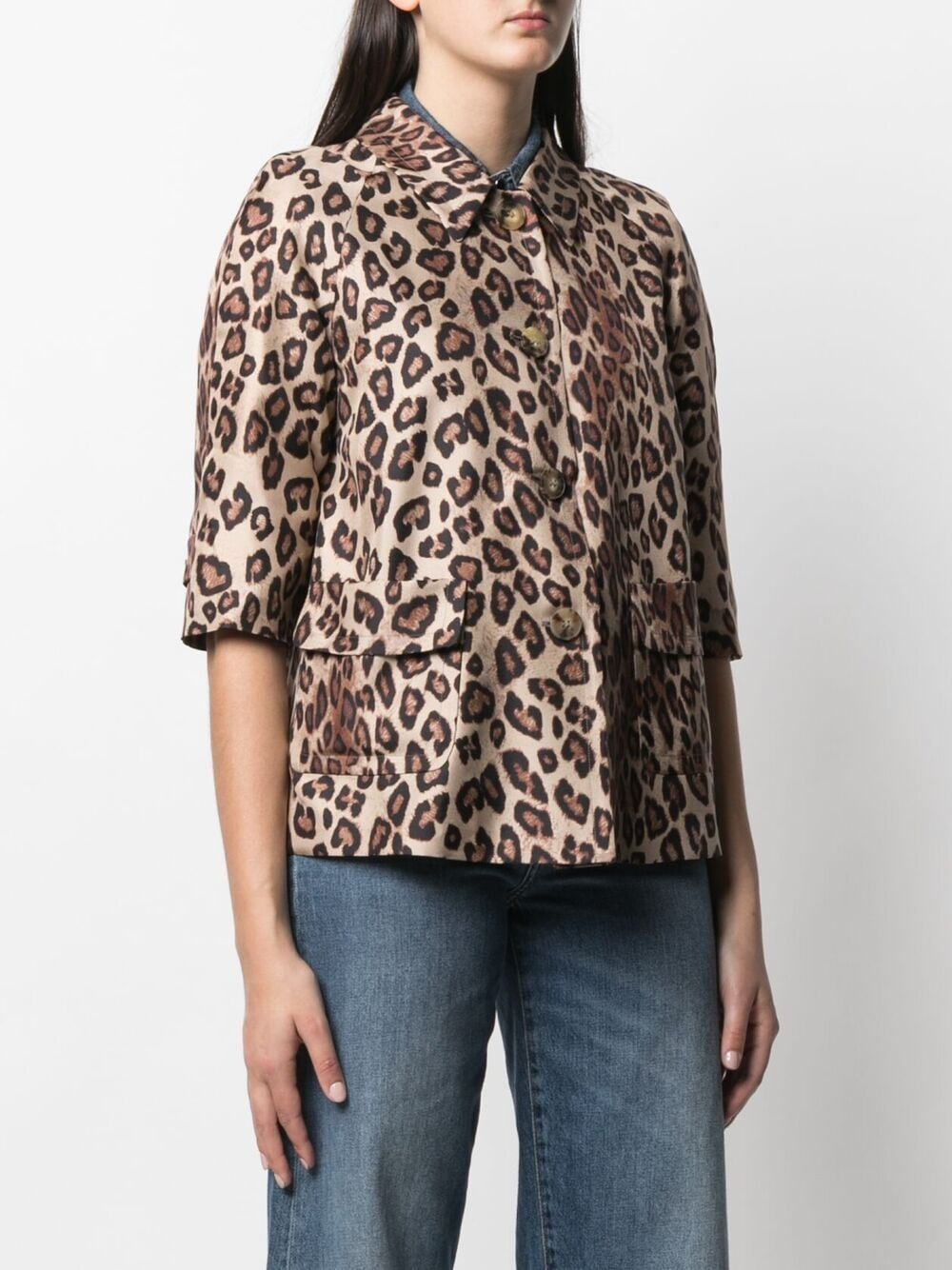 Camicia leopardata in seta con stampa all-over ALBERTO BIANI | Giacche | PP857-SE310666