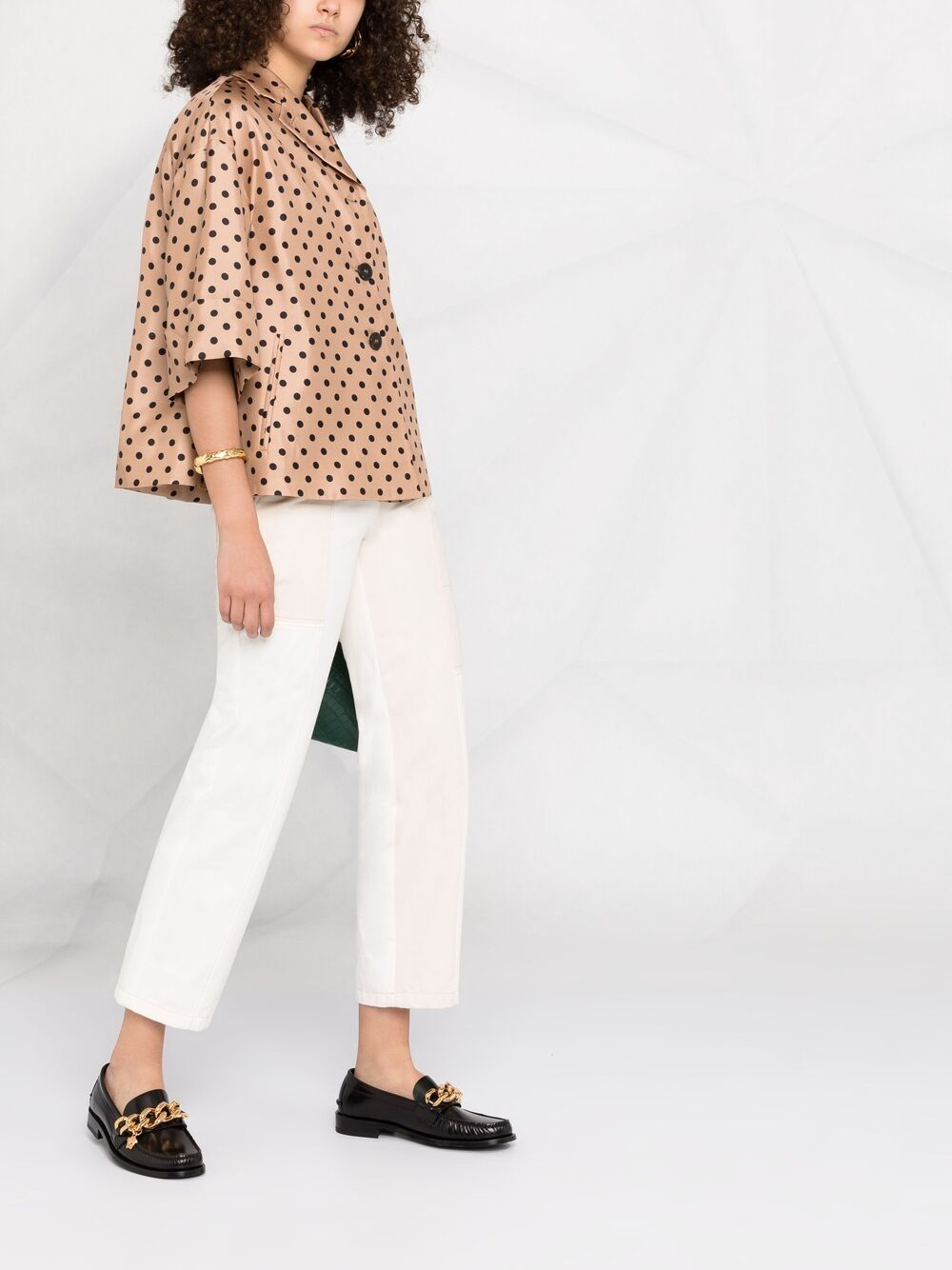 Biscotto beige silk polka-dot print jacket  ALBERTO BIANI |  | PP858-SE313468