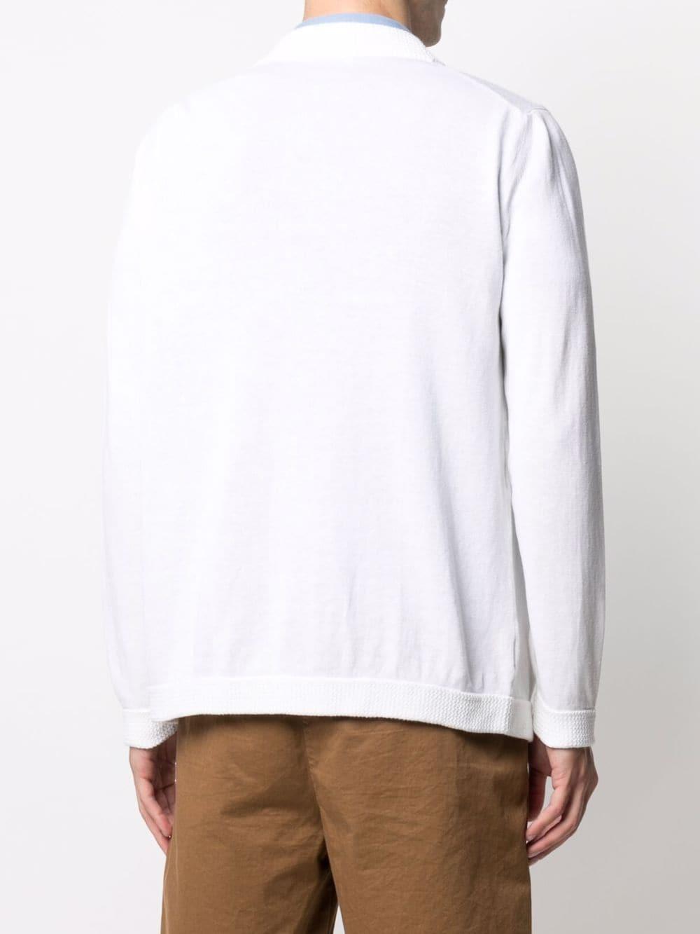 Cardigan con scollo a V in cotone e lino bianco ALTEA | Cardigan | 215101729