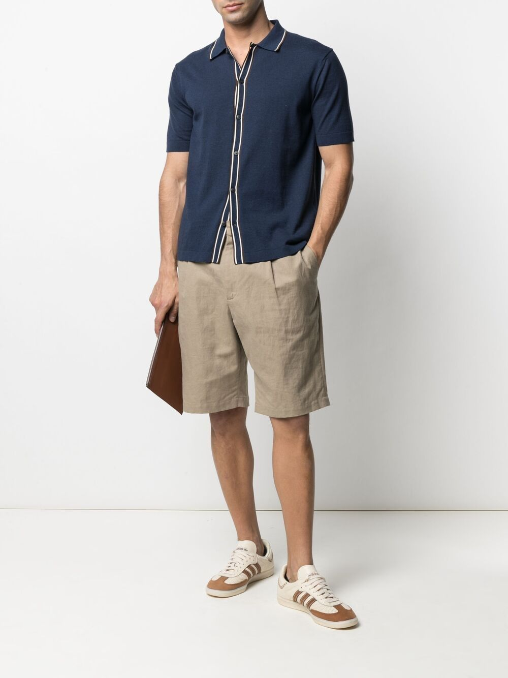 Navy-blue,white and brown cotton buttoned-up knitted shirt featuring stripe print ALTEA      215104409