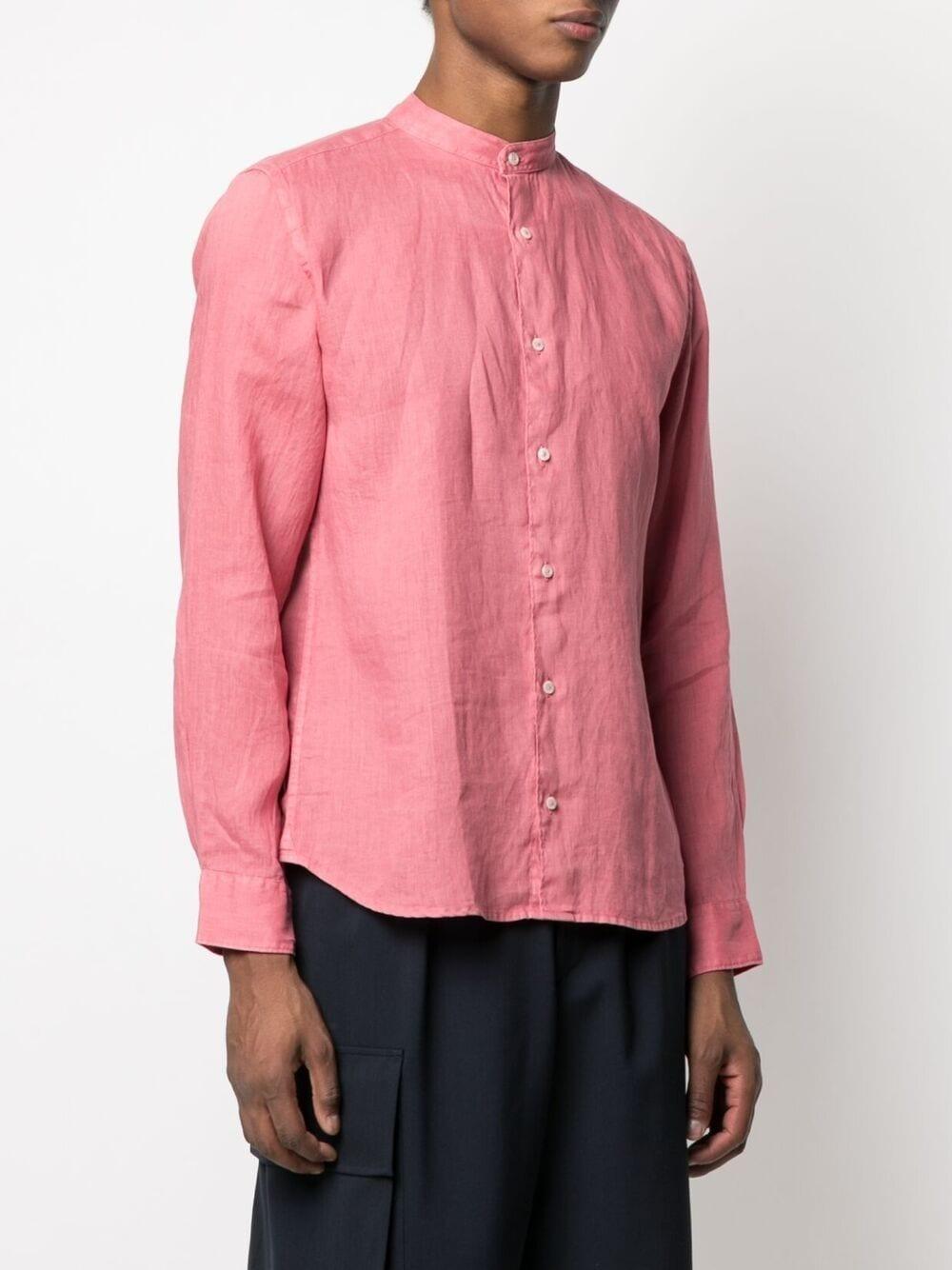 Rose pink linen band collar shirt  ALTEA |  | 215400468