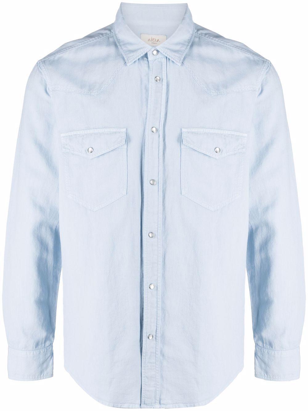 Sky blue cotton and linen chest-pockets long-sleeve shirt  ALTEA      215406312