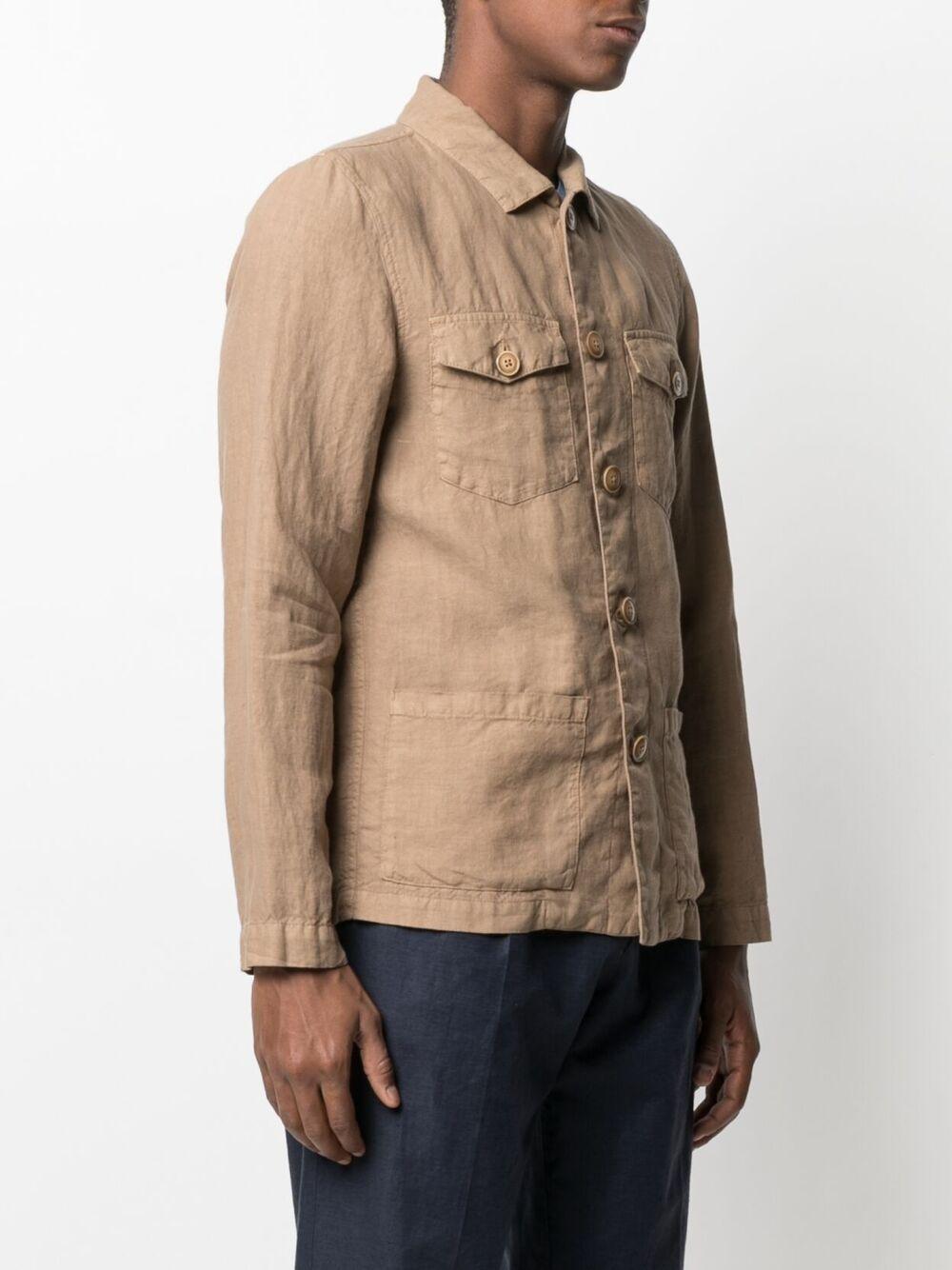 Giacca-camicia in lino color cammello ALTEA | Giacche | 215732434