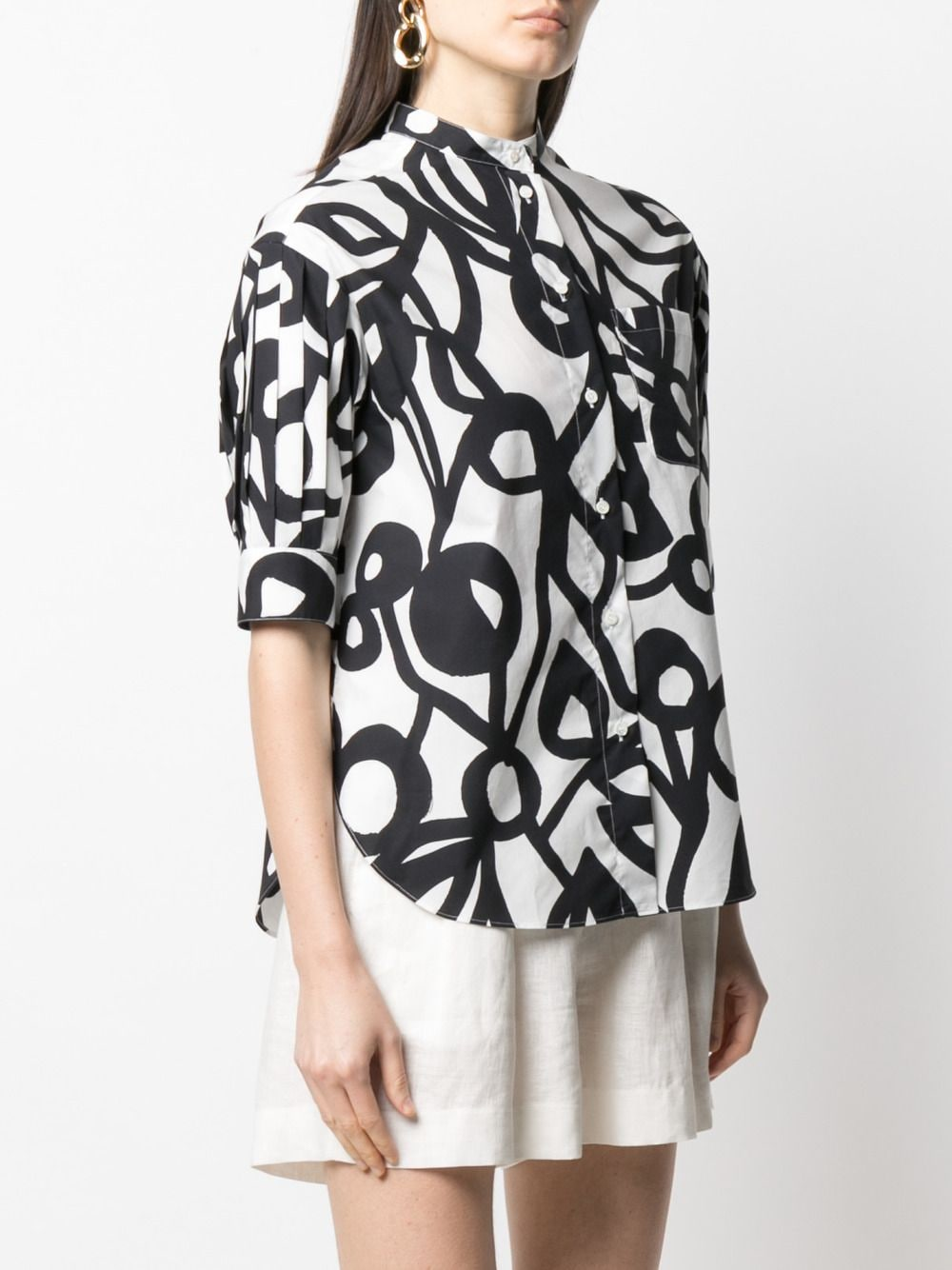 White and black cotton geometric floral poplin shirt  ASPESI |  | 5413-F28861241