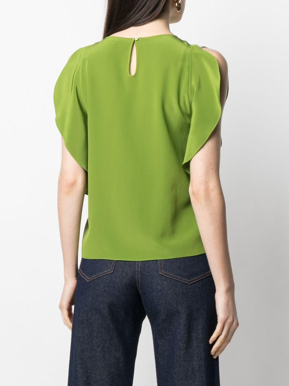 Green silk slit ruffled-sleeve blouse  ASPESI |  | 5607-275305167
