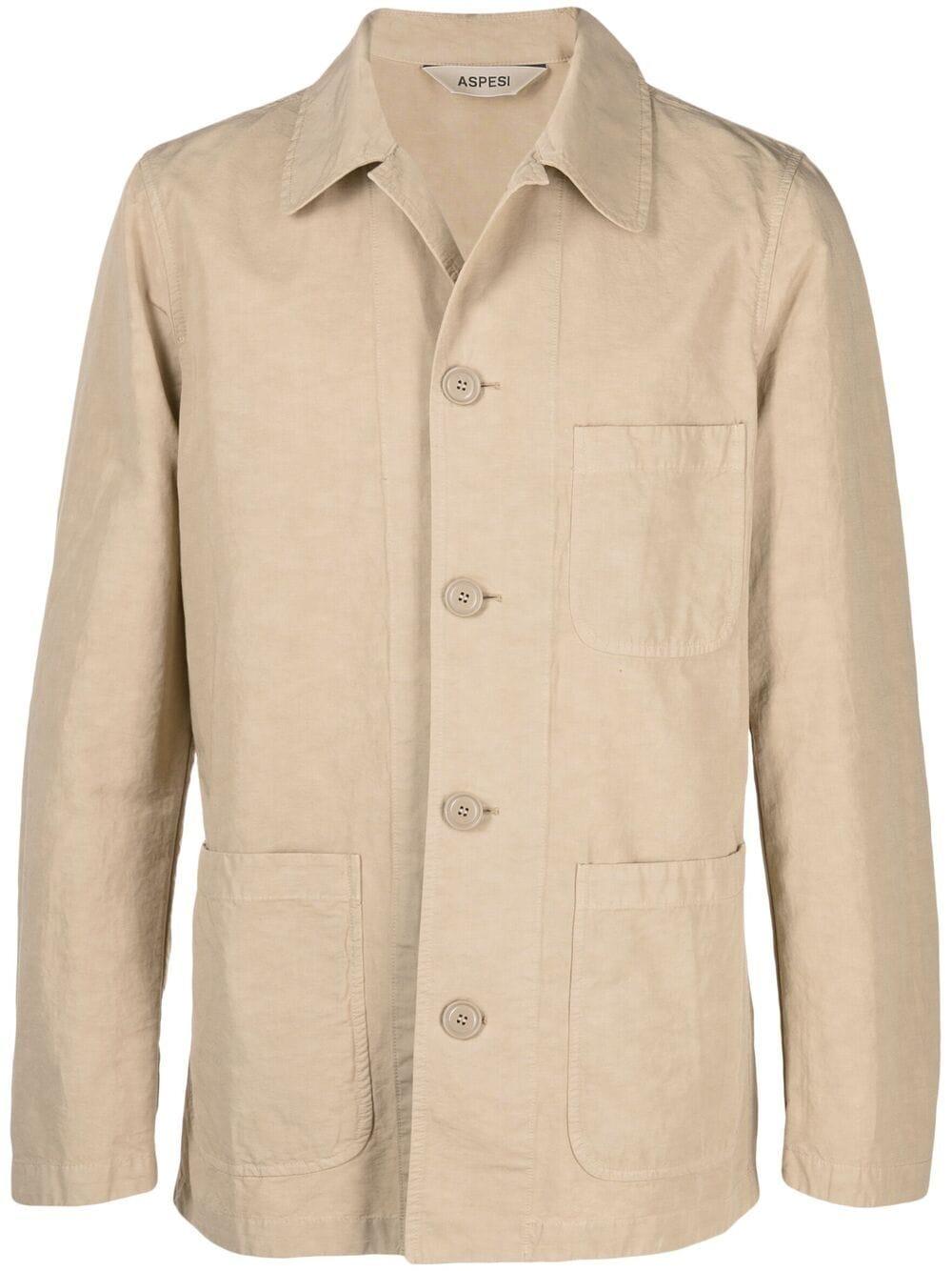 Giacca button down in cotone e lino beige ASPESI | Giacche | CJ70-G43485047