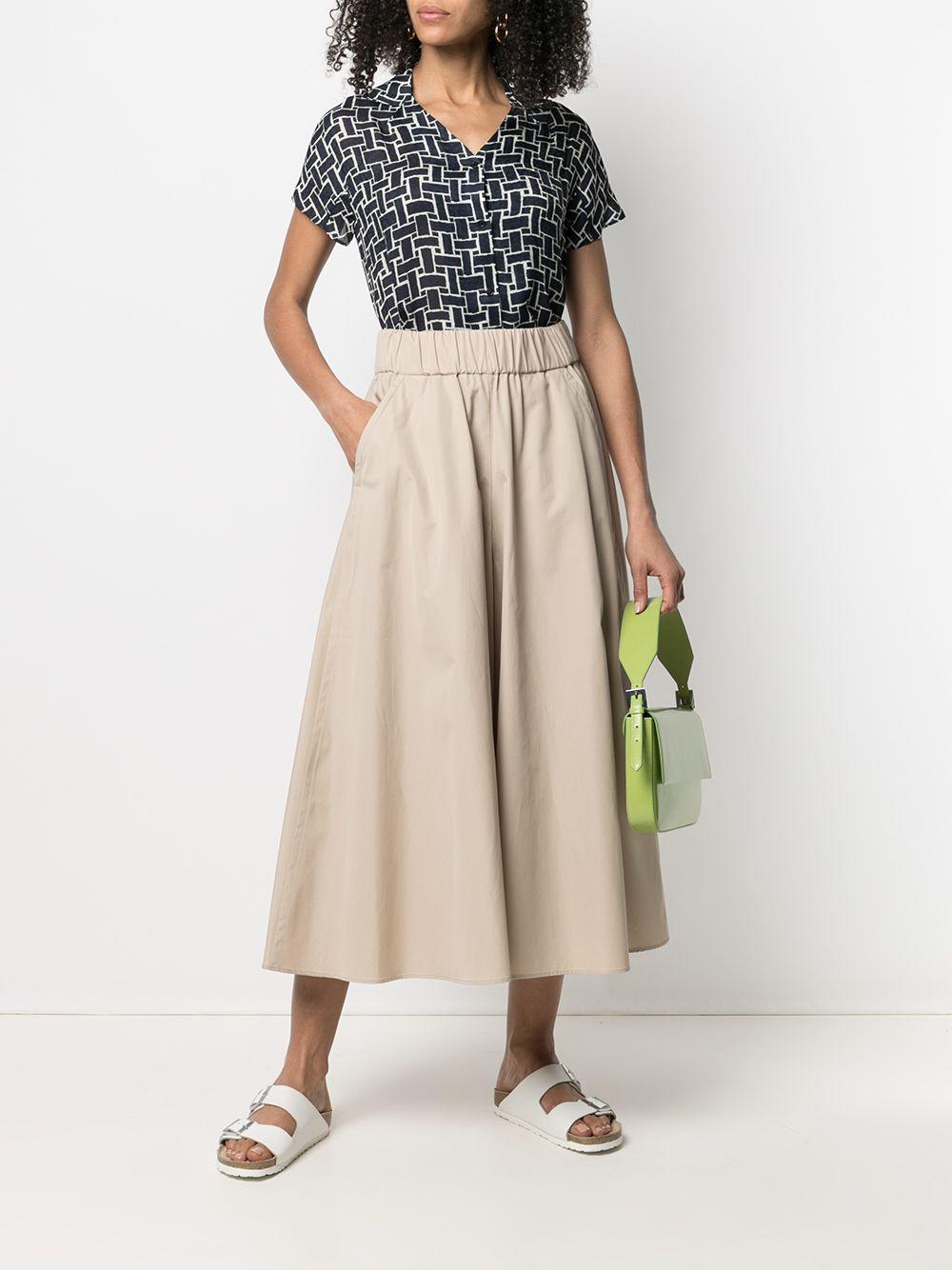 Cream beige cotton wide leg cropped trousers  featuring high waist ASPESI |  | H114-D30785186