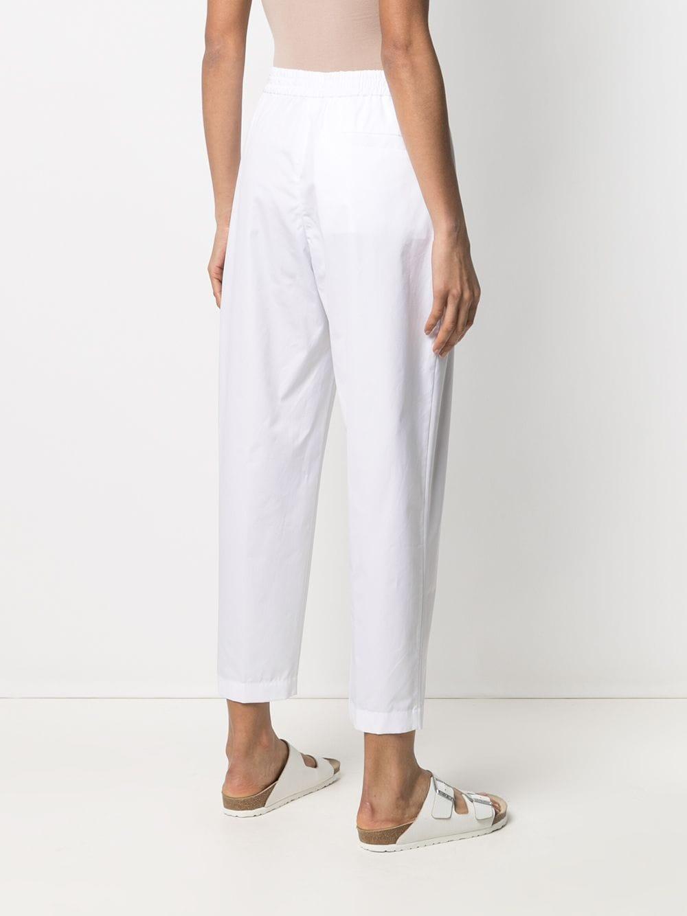 Pantaloni bianchi corti affusolati in cotone a vita alta ASPESI | Pantaloni | H115-D30785072
