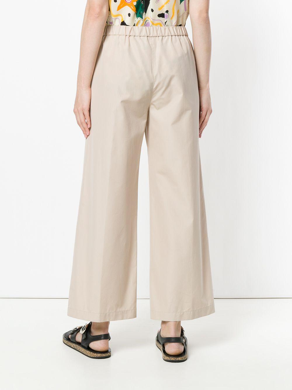 Beige cotton wide leg trousers featuring an elasticated waistband ASPESI |  | H128-D30785186