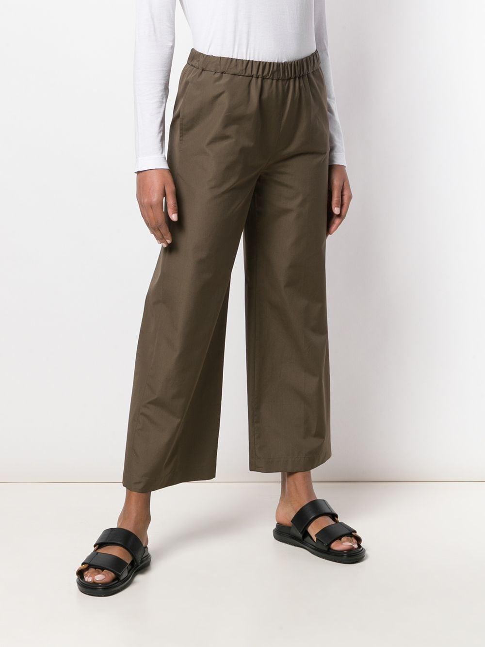 Pantaloni larghi in cotone verde scuro con vita elasticizzata ASPESI | Pantaloni | H128-D30785237