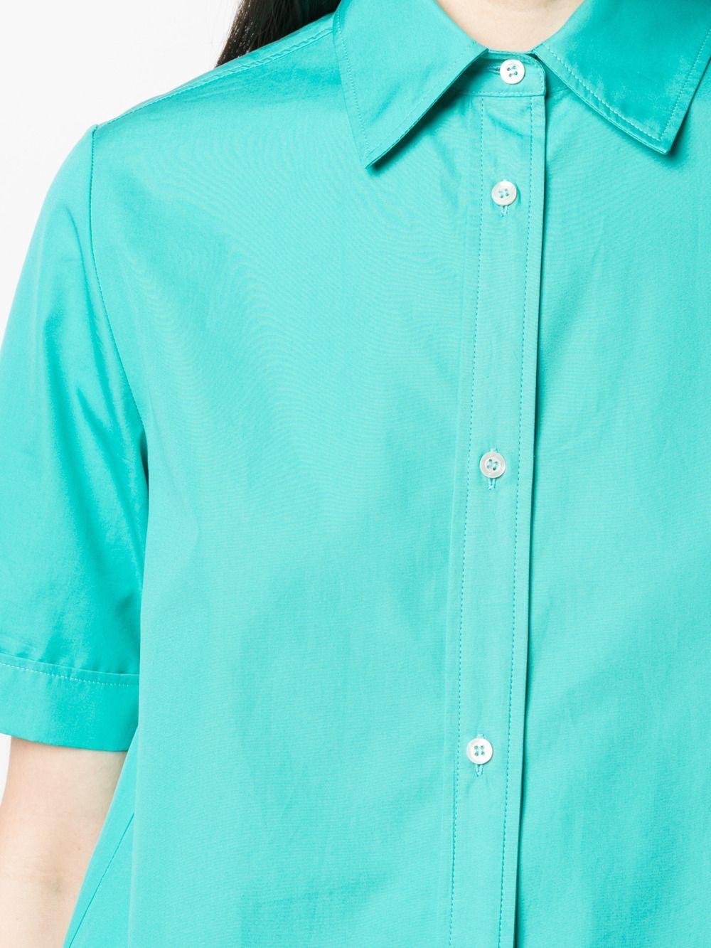 Camicia verde acqua in cotone a maniche corte con abbottonatura con spacchi ASPESI | Camicie | H719-D30785006