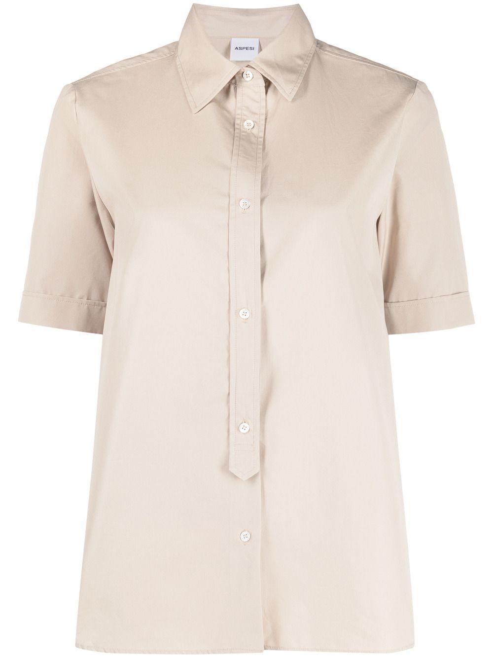 Beige cotton short-sleeved button placket shirt  ASPESI |  | H719-D30785186