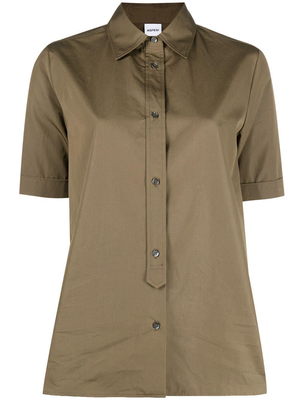 Brown cotton short-sleeved button placket shirt  ASPESI      H719-D30785237