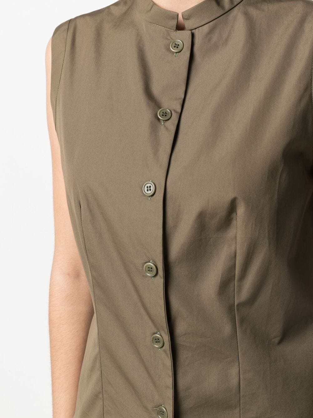 Khaki green cotton mandarin-collar shirt  ASPESI |  | H805-D30785237