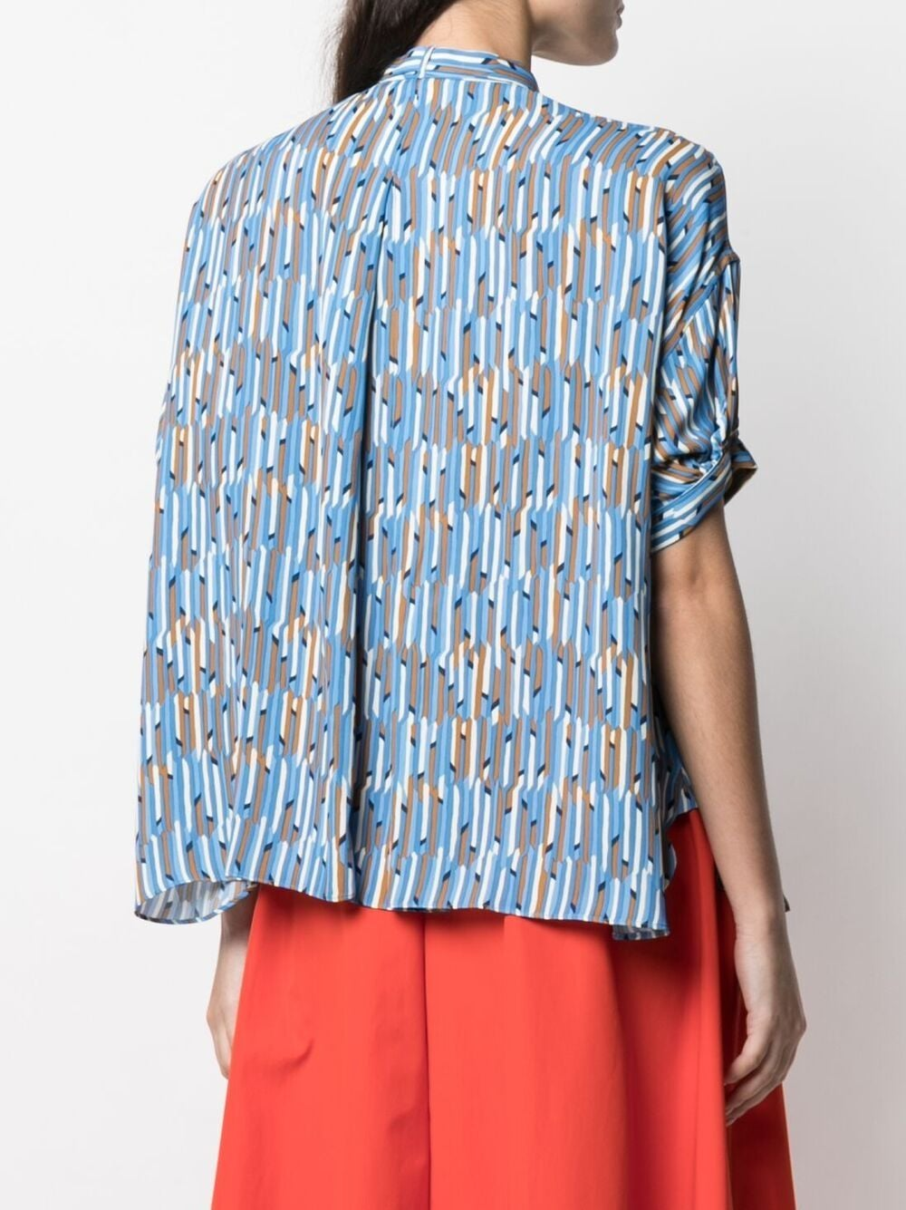Blue multicoloured geometric print pussy-bow shirt  ASPESI |  | WE03-G45030095
