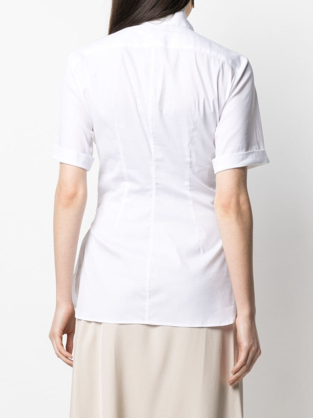 White cotton poplin sash-waist shirt featuring draped detailing ASPESI |  | WE04-680729072