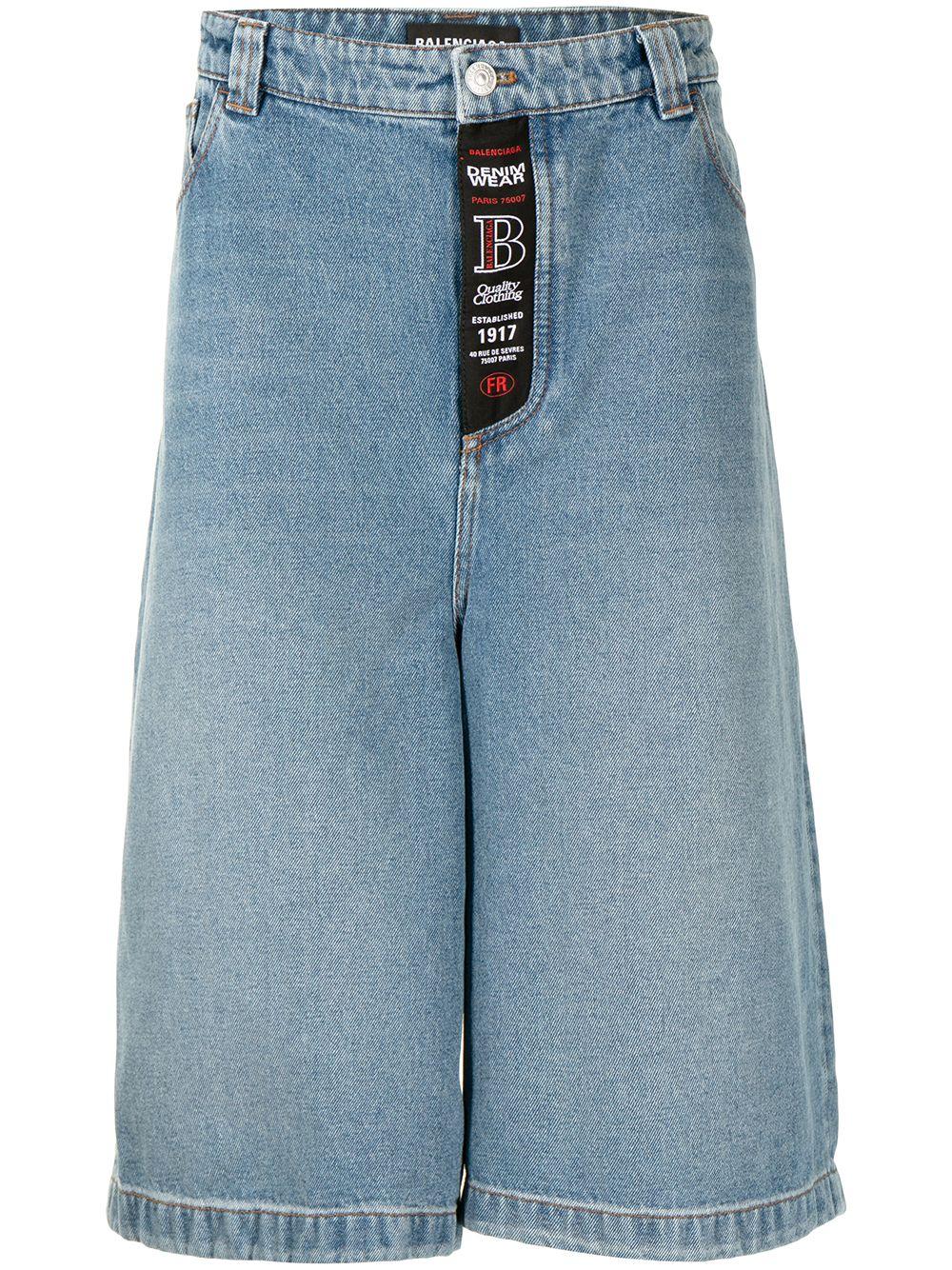 Pantaloncini skater in denim blu in cotone con lavaggio medio BALENCIAGA | Bermuda | 641464-TDW154762