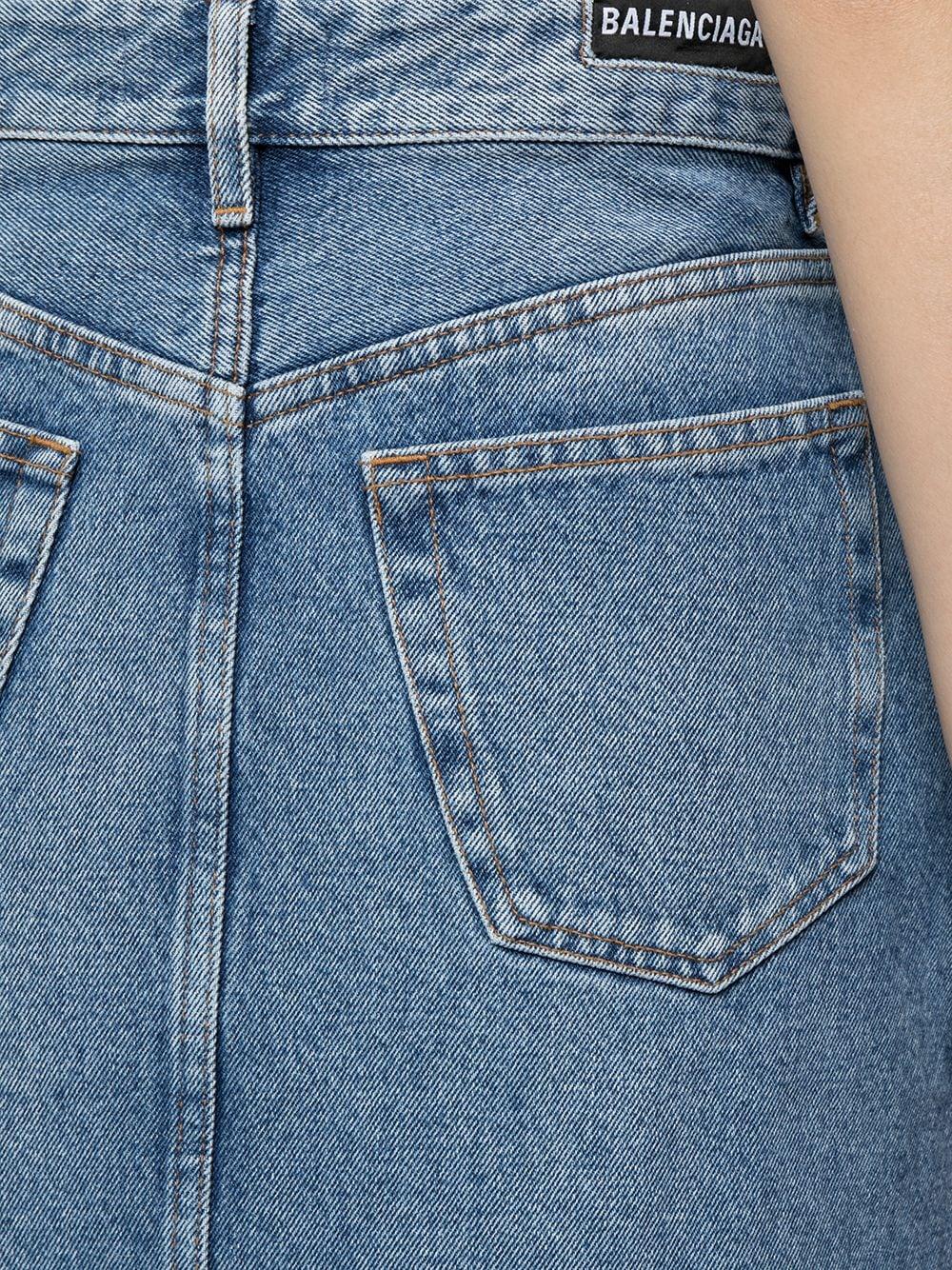 Blue cotton A-line denim skirt featuring high waist and distressed effect BALENCIAGA      646913-TDW154762