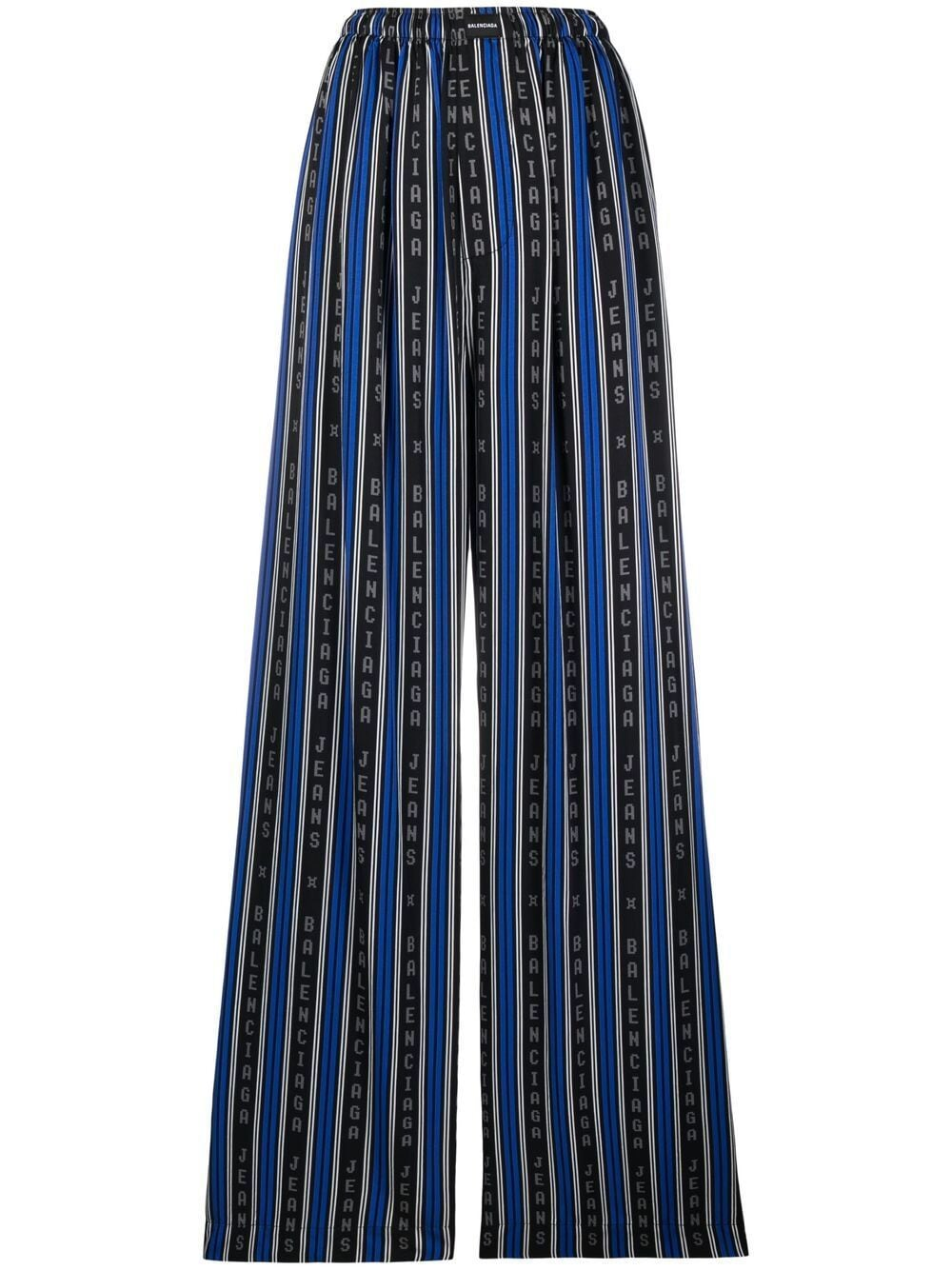 pantalone in viscosa a righe verticali blu e nere BALENCIAGA | Pantaloni | 659026-TKL321165