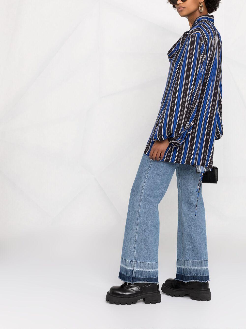 camicia viscosa fasce contrasto scritta logo verticale collo annodato lacceto vita m/l BALENCIAGA   Camicie   659088-TKL321165