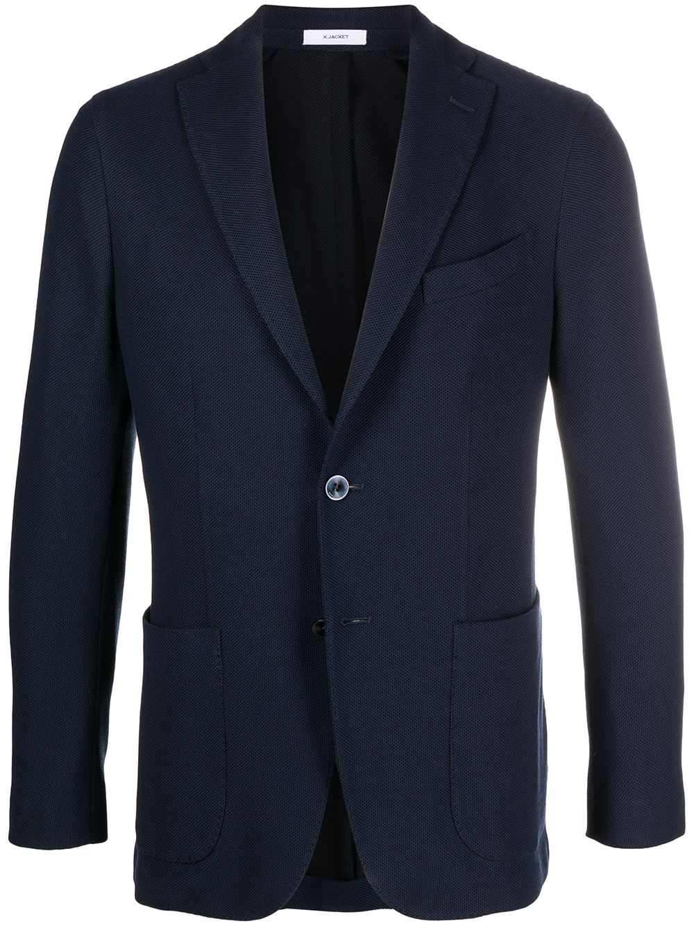Navy blue cotton single-breasted blazer  BOGLIOLI      N1302E-BRC020780