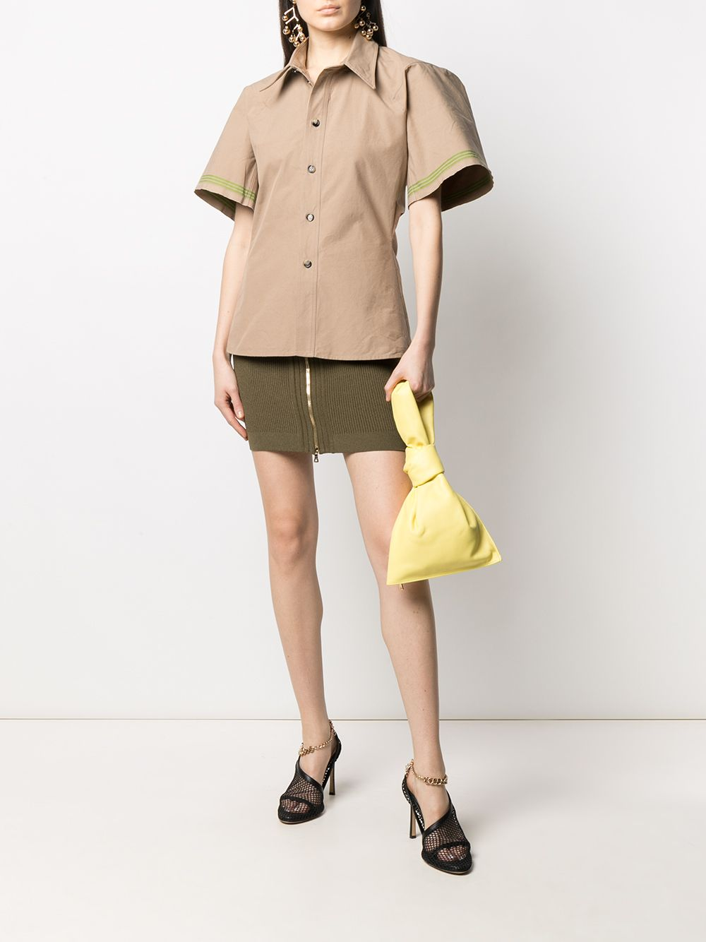 Beige and green cotton button-up shirt  BOTTEGA VENETA |  | 648139-V0BV09747