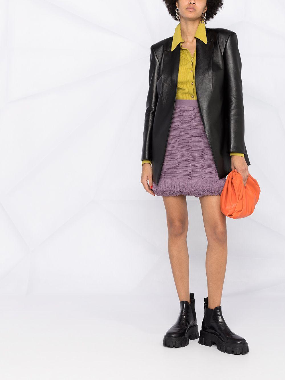 Lavander cotton knitted mini skirt featuring pom pom all over details BOTTEGA VENETA |  | 648956-V0DW05115