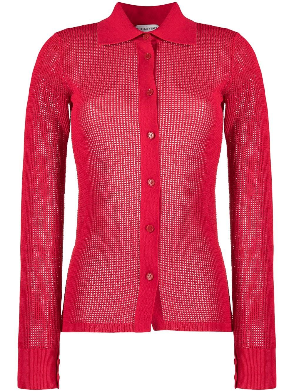 Red cotton sheer shirt featuring classic collar BOTTEGA VENETA      648977-V0BN06144