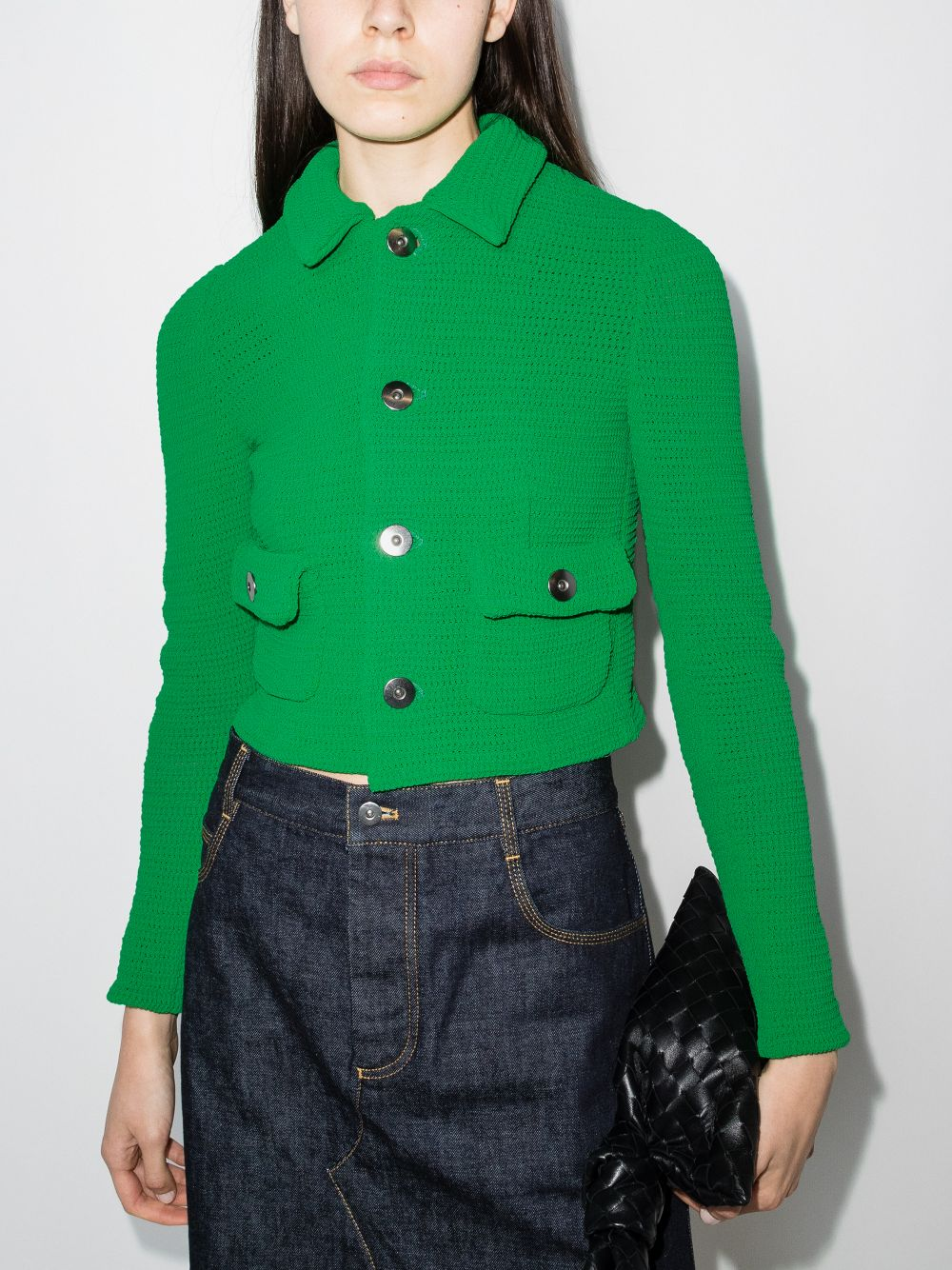 Parakeet green cotton cropped buttoned cardigan jacket  BOTTEGA VENETA |  | 656076-V0S904809
