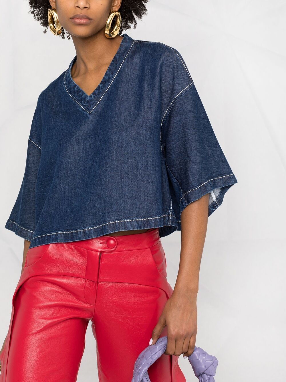 Medium blue lyocell V-neck cropped denim top  BOTTEGA VENETA |  | 657734-V0SH04600
