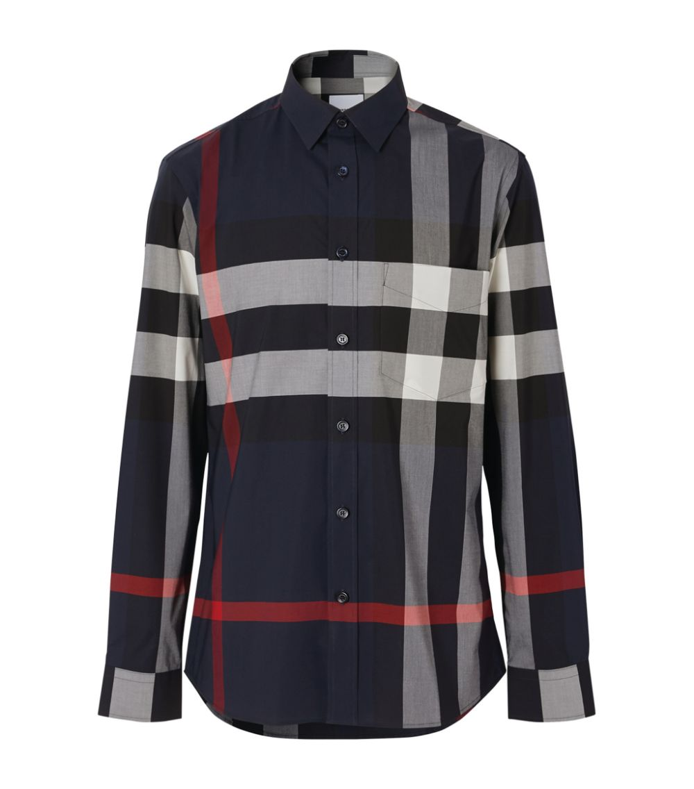 blue slim-fit stretch cotton poplin shirt  BURBERRY |  | 8018111-SOMERTONA1960