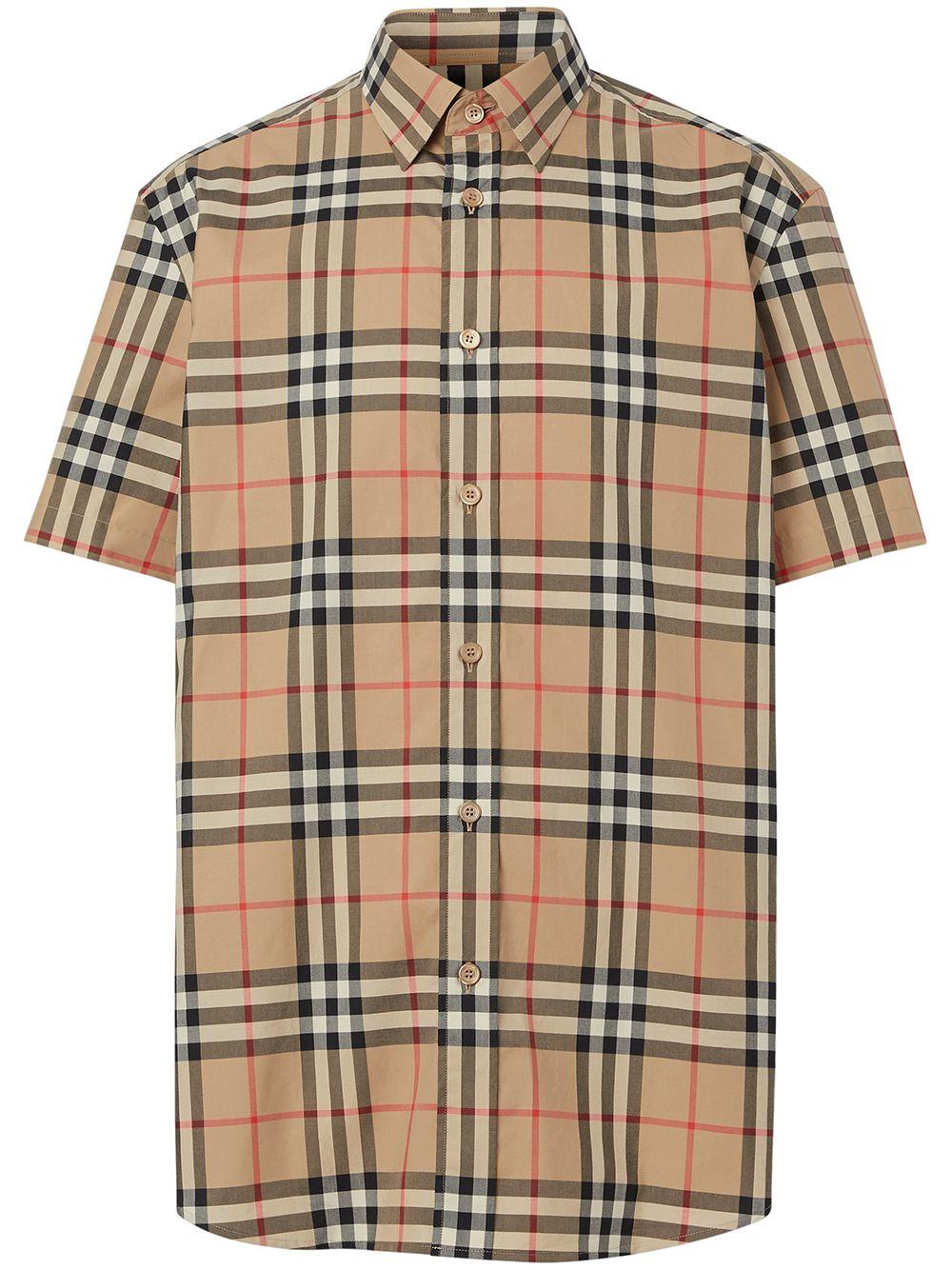 camicia a maniche corte Vintage Check in cotone beige BURBERRY | Camicie | 8020869-CAXTONA7028