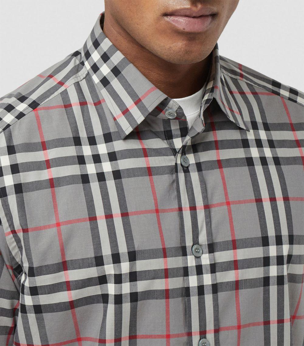 Camicia in stampa Check in cotone grigio melange BURBERRY | Camicie | 8028886-CAXTONA4706