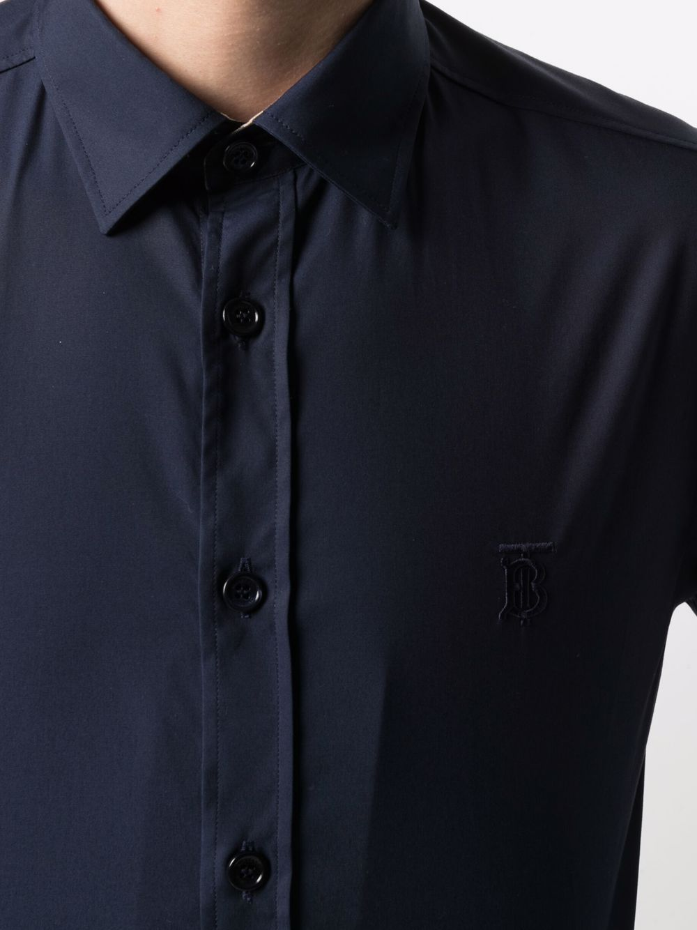 Camicia con monogramma TB in cotone elasticizzato blu navy BURBERRY | Camicie | 8032606-SHERWOODA1222