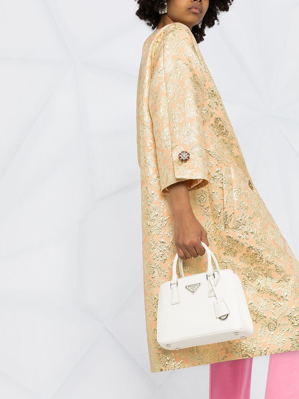 gold tone silk-blend single-breasted jacquard coat featuring half-length sleeves DOLCE & GABBANA |  | F0AG8Z-HJMLBS8354