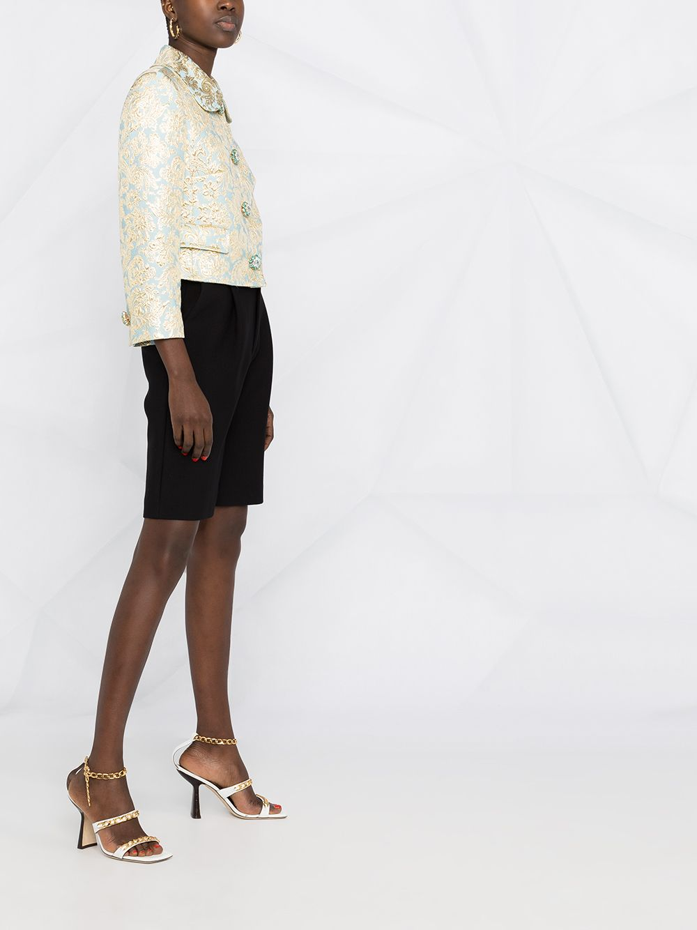 Azure and gold-tone stretch silk jacquard short fitted jacket  DOLCE & GABBANA |  | F26ALZ-HJMLBS8351