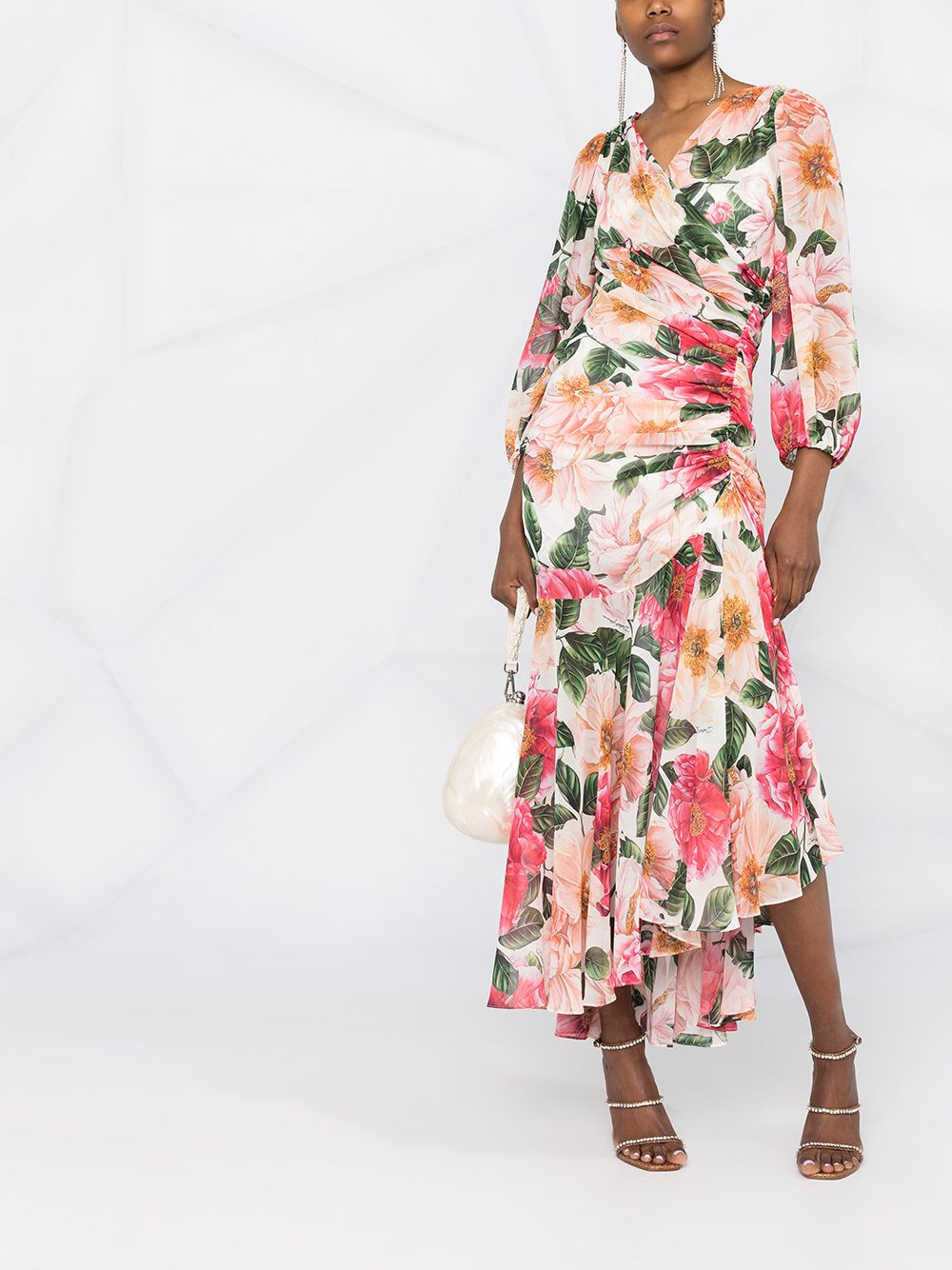 White,pink and green silk-georgette camellia-print asymmetric dress  DOLCE & GABBANA |  | F6I5UT-IS1FKHA2AI