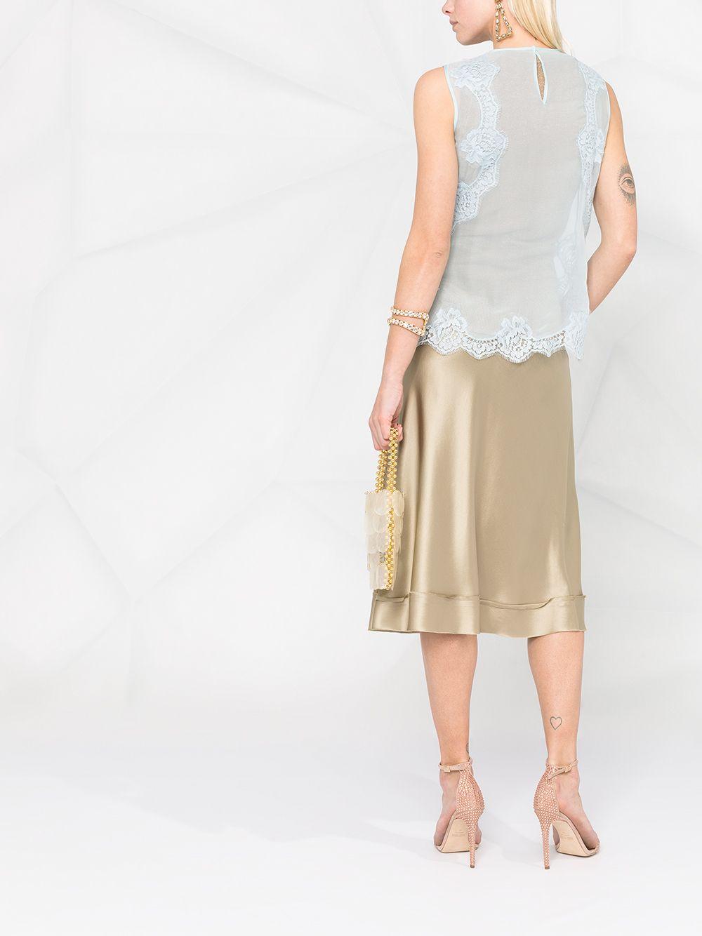 Blusa smanicata in chiffon seta e cotone celeste con inserti in pizzo DOLCE & GABBANA | Camicie | F74K1T-FU1ATB0276