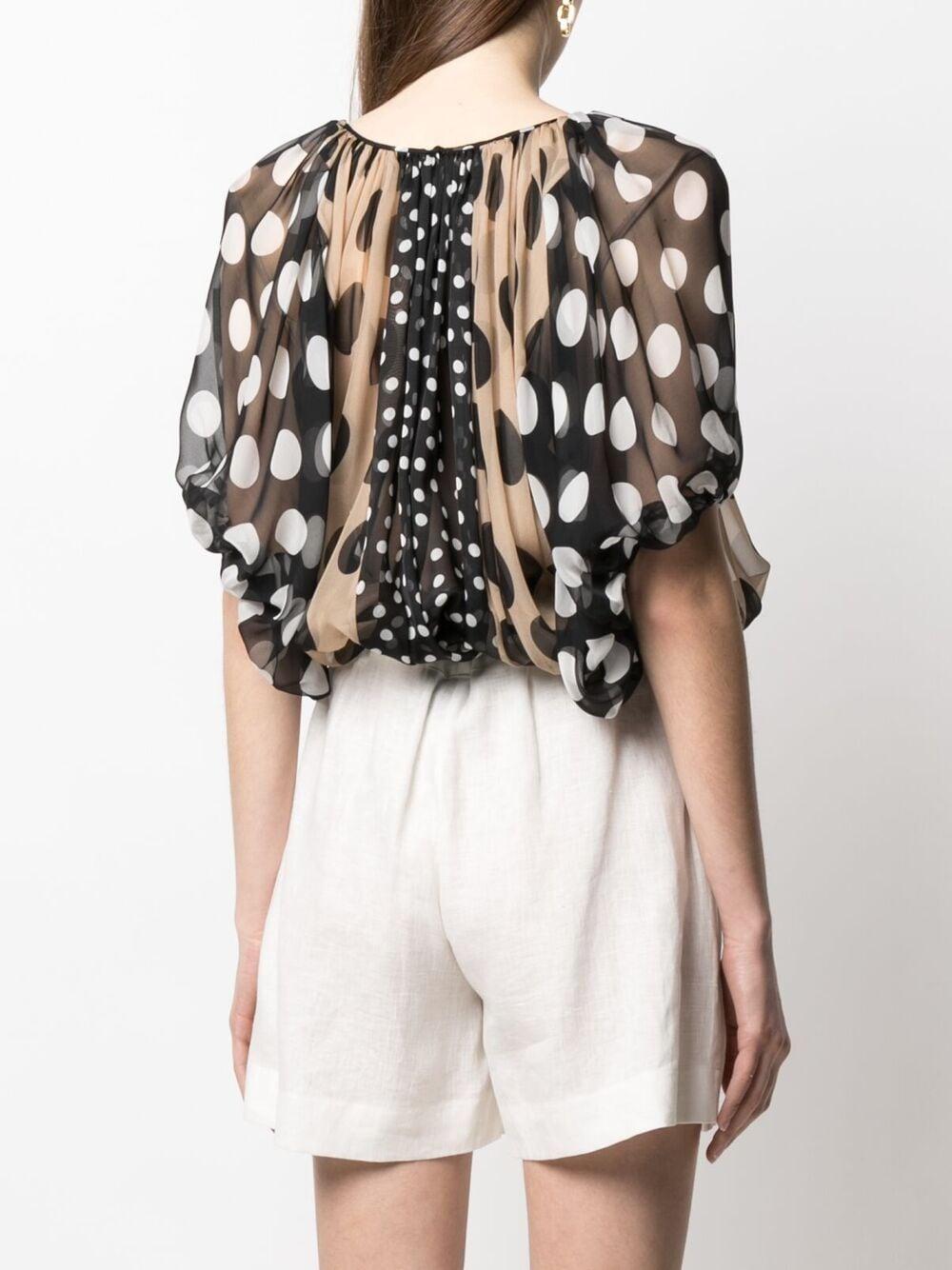 blusa semitrasparente nera e beige in seta con stampa a pois DOLCE & GABBANA | Camicie | F75B1T-GDX68S9000