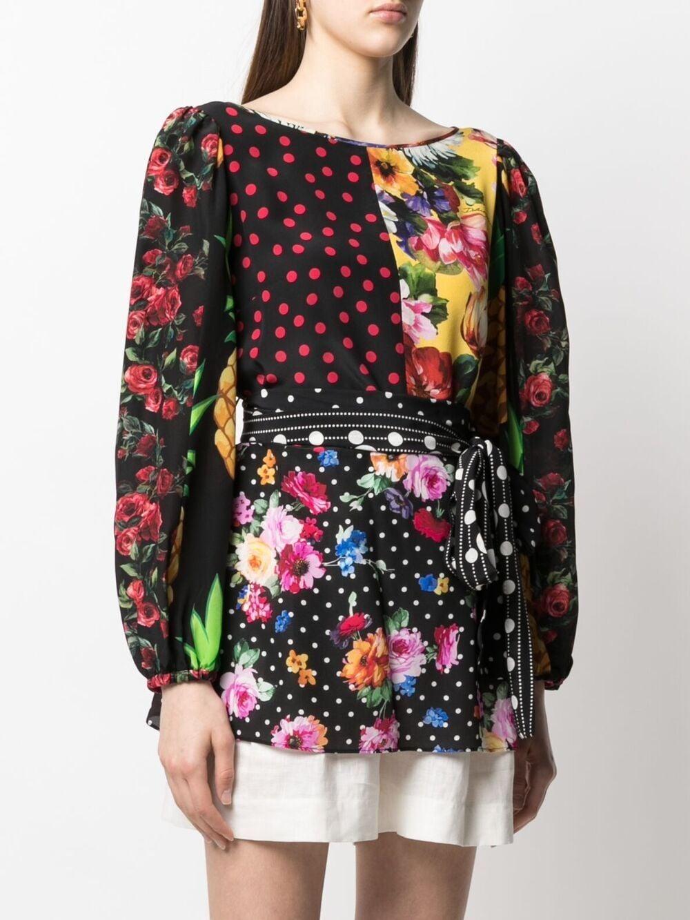 Blusa in seta elasticizzata nera e multicolore con scollo tondo DOLCE & GABBANA | Camicie | F75E3T-GDY58S9000