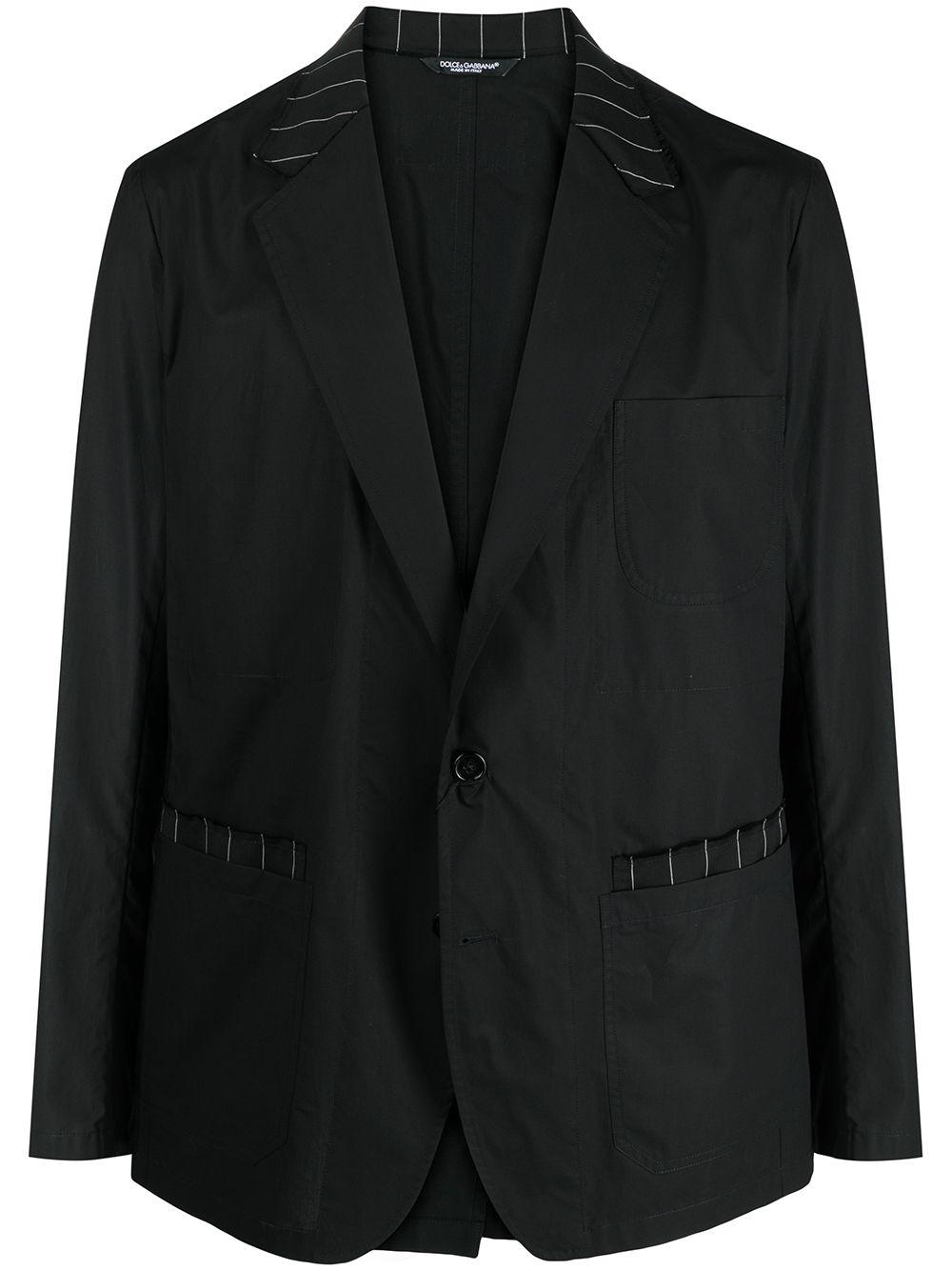 Black cotton virgin wool blend pinstriped details single-breasted blazer  DOLCE & GABBANA |  | G2LW5T-GER01N0000