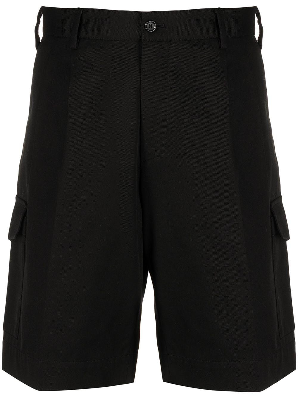 Shorts cargo a vita alta in cotone elasticizzato nero DOLCE & GABBANA | Bermuda | GW3JAT-FUFJUN0000