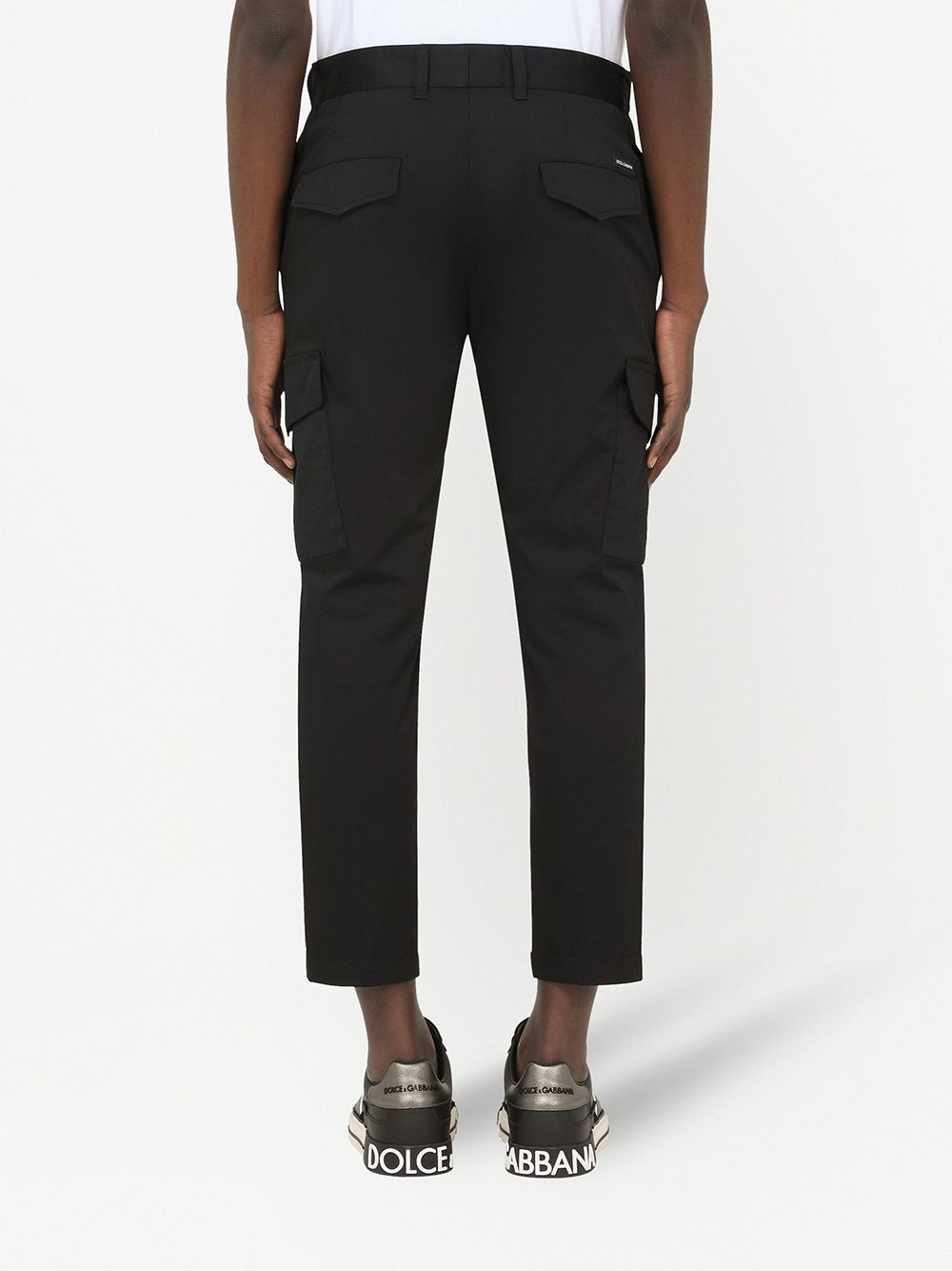 Black stretch-cotton cropped-leg cargo trousers  featuring piped-trim detailing DOLCE & GABBANA |  | GWBWET-FUFJRN0000