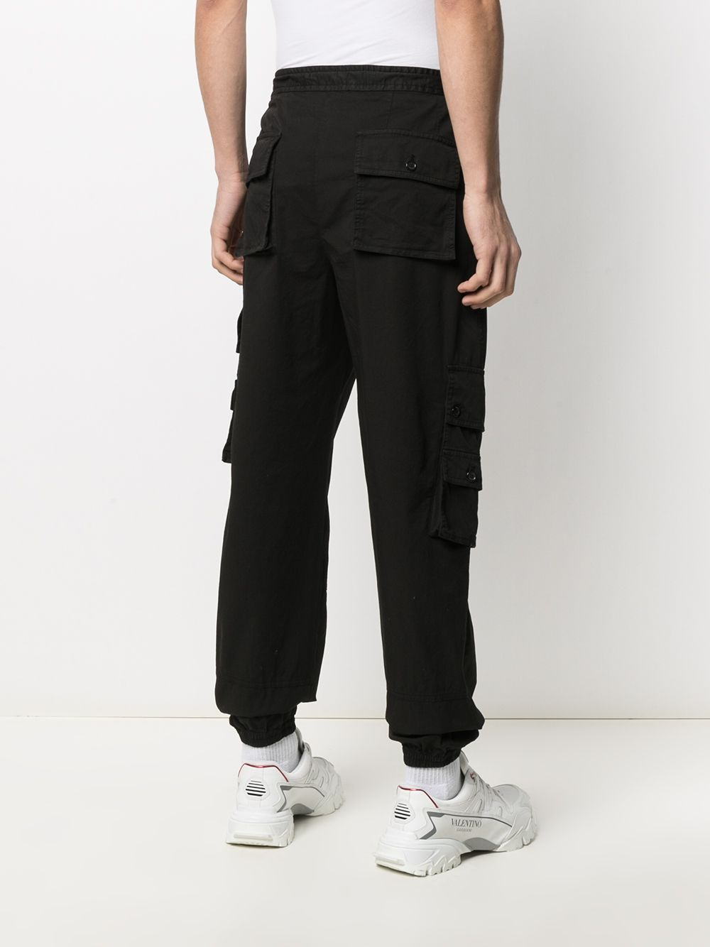 Black cotton cargo pants featuring Dolce & Gabbana logo patch to the side DOLCE & GABBANA |  | GWBZHT-G8DS4N0000