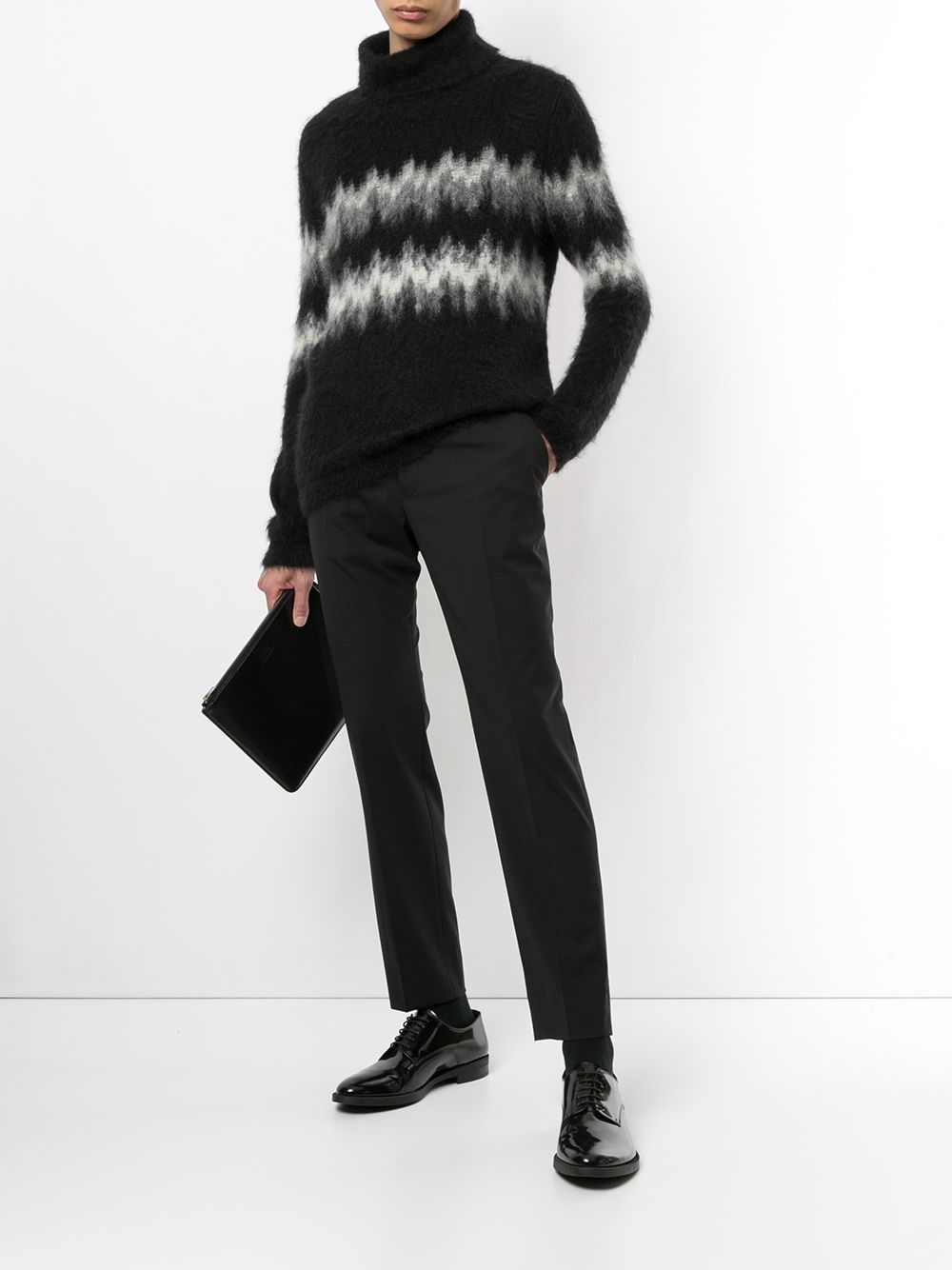 Pantaloni neri in lana vergine con design tono su tono DOLCE & GABBANA | Pantaloni | GY6IET-FUBECN0000